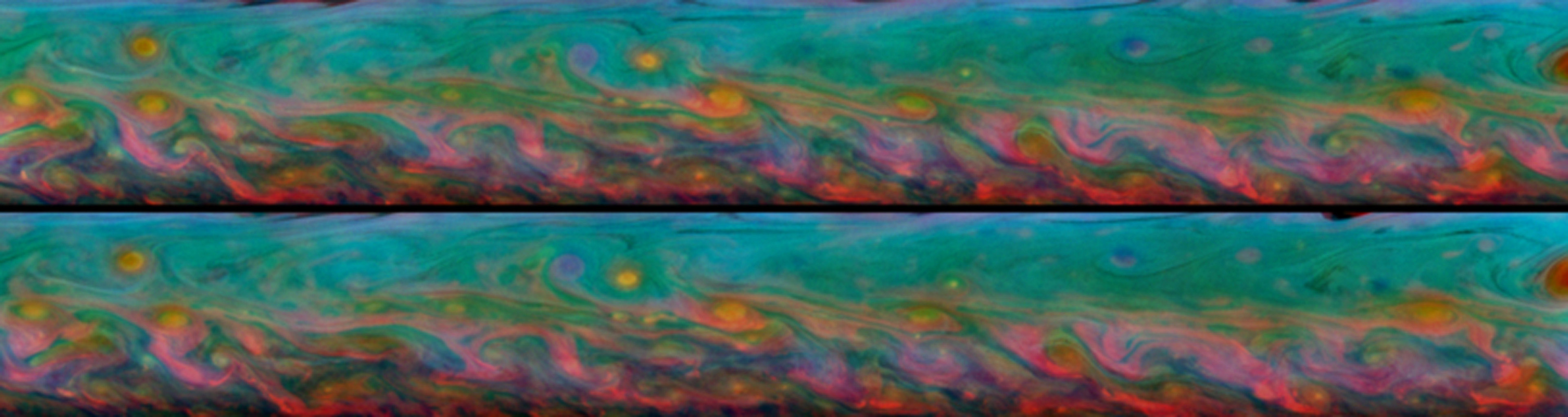 With kaleidoscopic forms and hues, these two false-color views from NASA's Cassini spacecraft show the patterns that come and go in the course of one Saturn day within the huge storm in the planet's northern hemisphere.