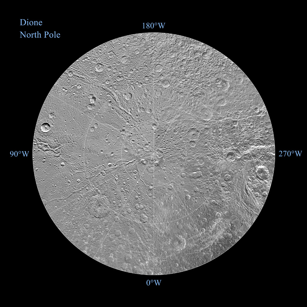 The northern and southern hemispheres of Dione are seen in these polar stereographic maps, mosaicked from images from NASA's Cassini mission. Each map is centered on one of the poles and surface coverage extends to the equator.