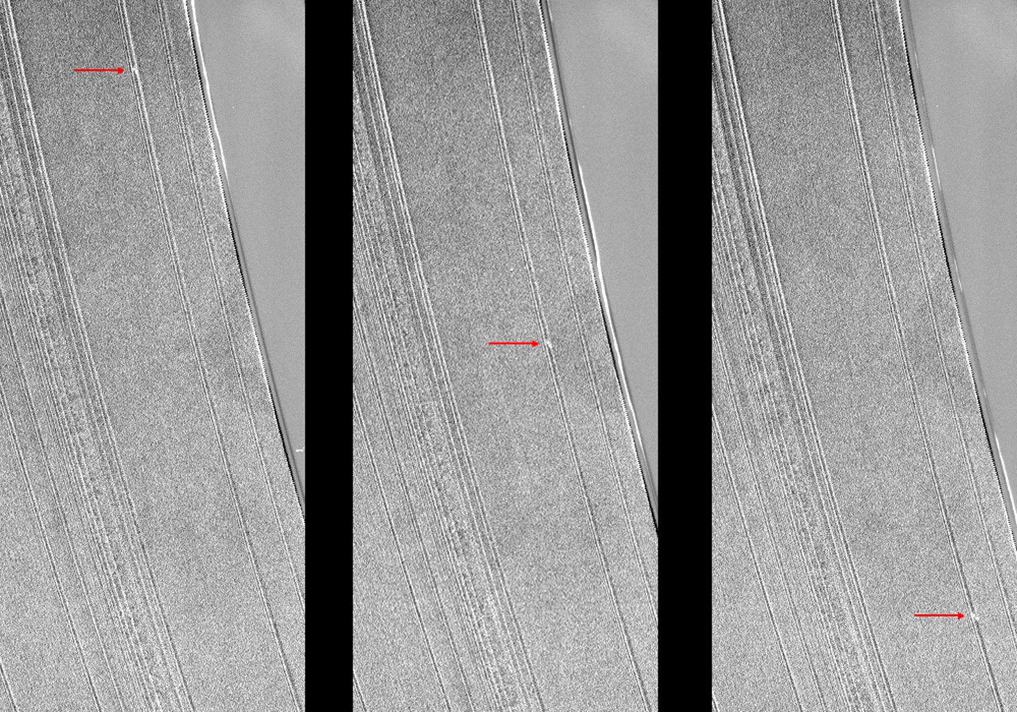 These three images from NASA's Cassini spacecraft show a propeller-shaped structure created by an unseen moon in Saturn's A ring.