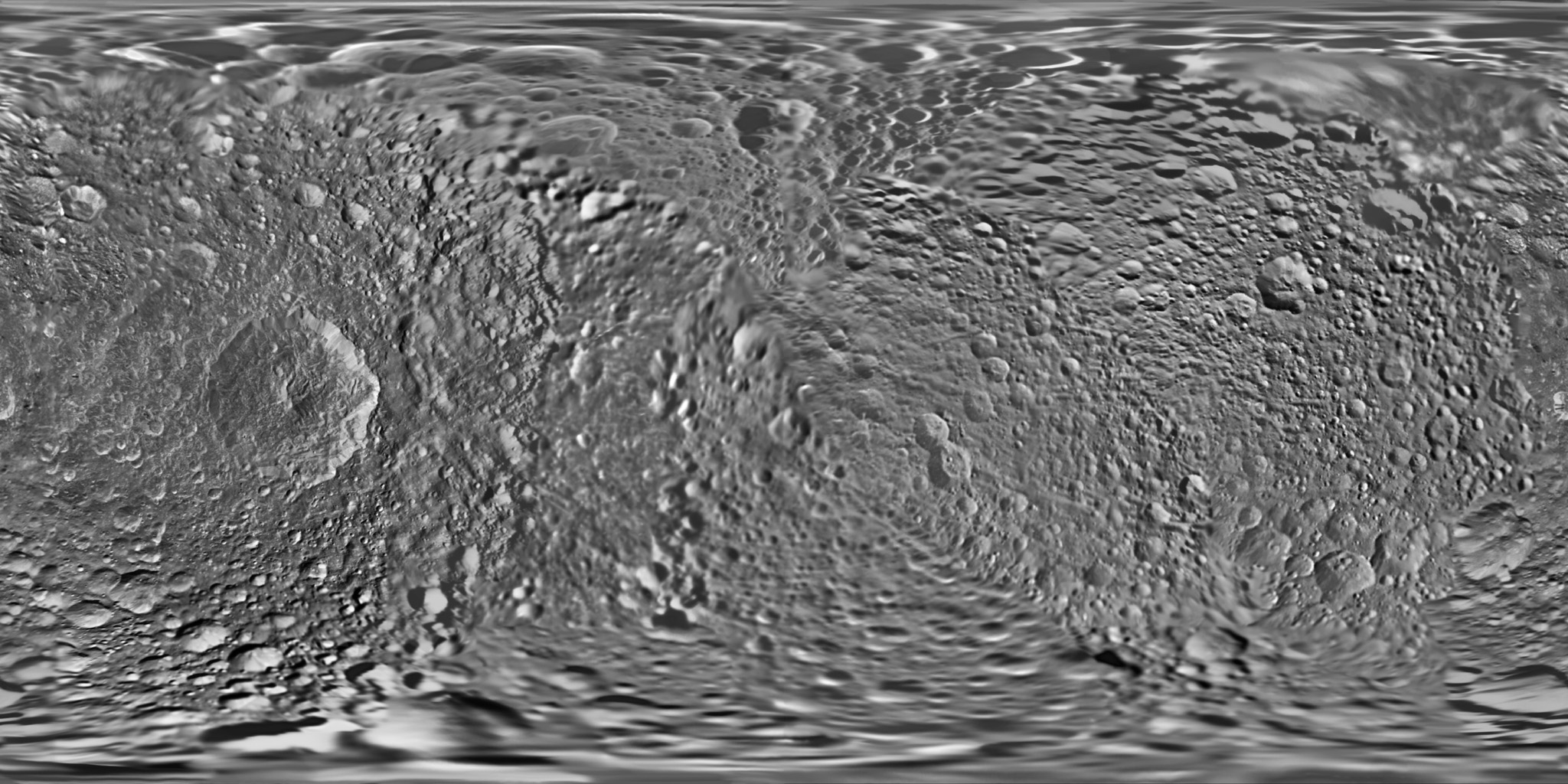 This global map of Saturn's moon Mimas was created using images taken during NASA's Cassini spacecraft flybys, with Voyager images filling in the gaps in Cassini's coverage.