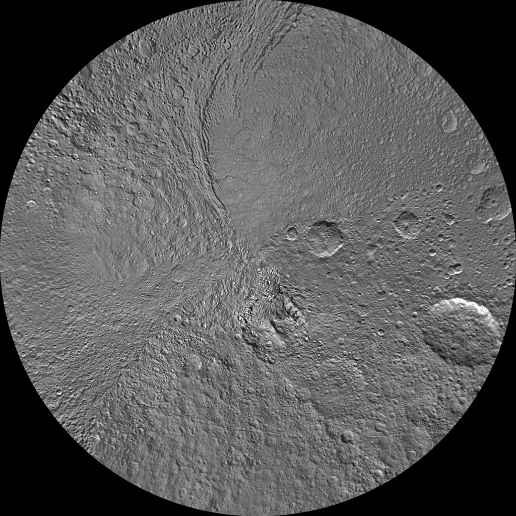 The southern hemisphere of Tethys is seen in this polar stereographic map, mosaicked from the best-available images from NASA's Cassini spacecraft.