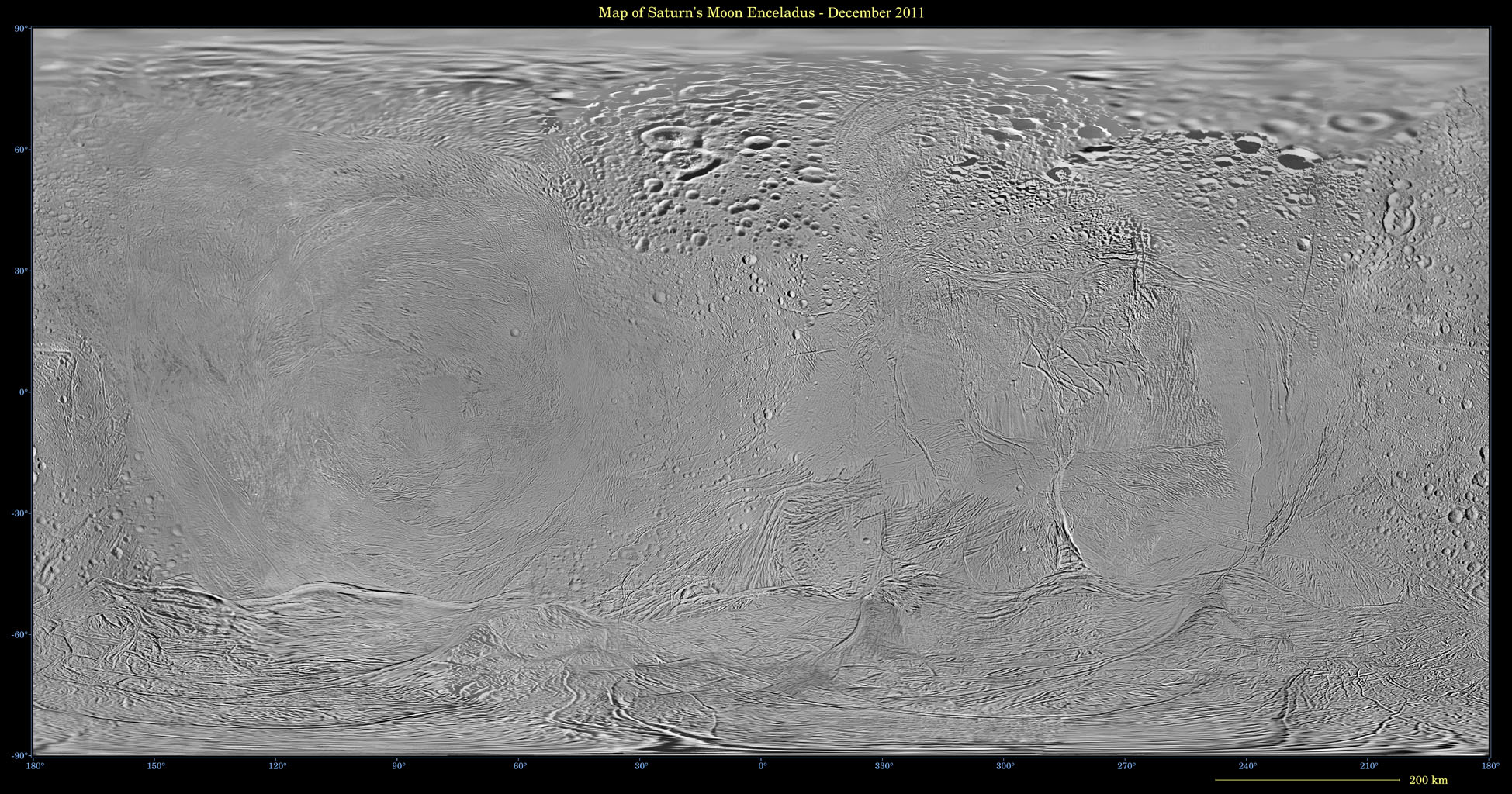 This mosaic shows an updated global map of Saturn's icy moon Enceladus, created using images taken during flybys of NASA's Cassini spacecraft. The map incorporates new images taken during flybys in December 2011.