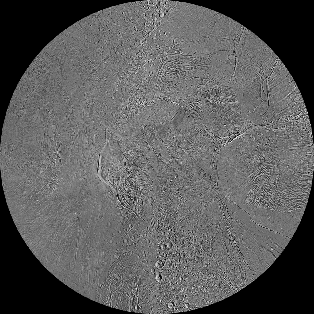 The northern and southern hemispheres of Enceladus are seen in these polar stereographic maps, mosaicked from the best-available NASA Cassini clear-filter images.