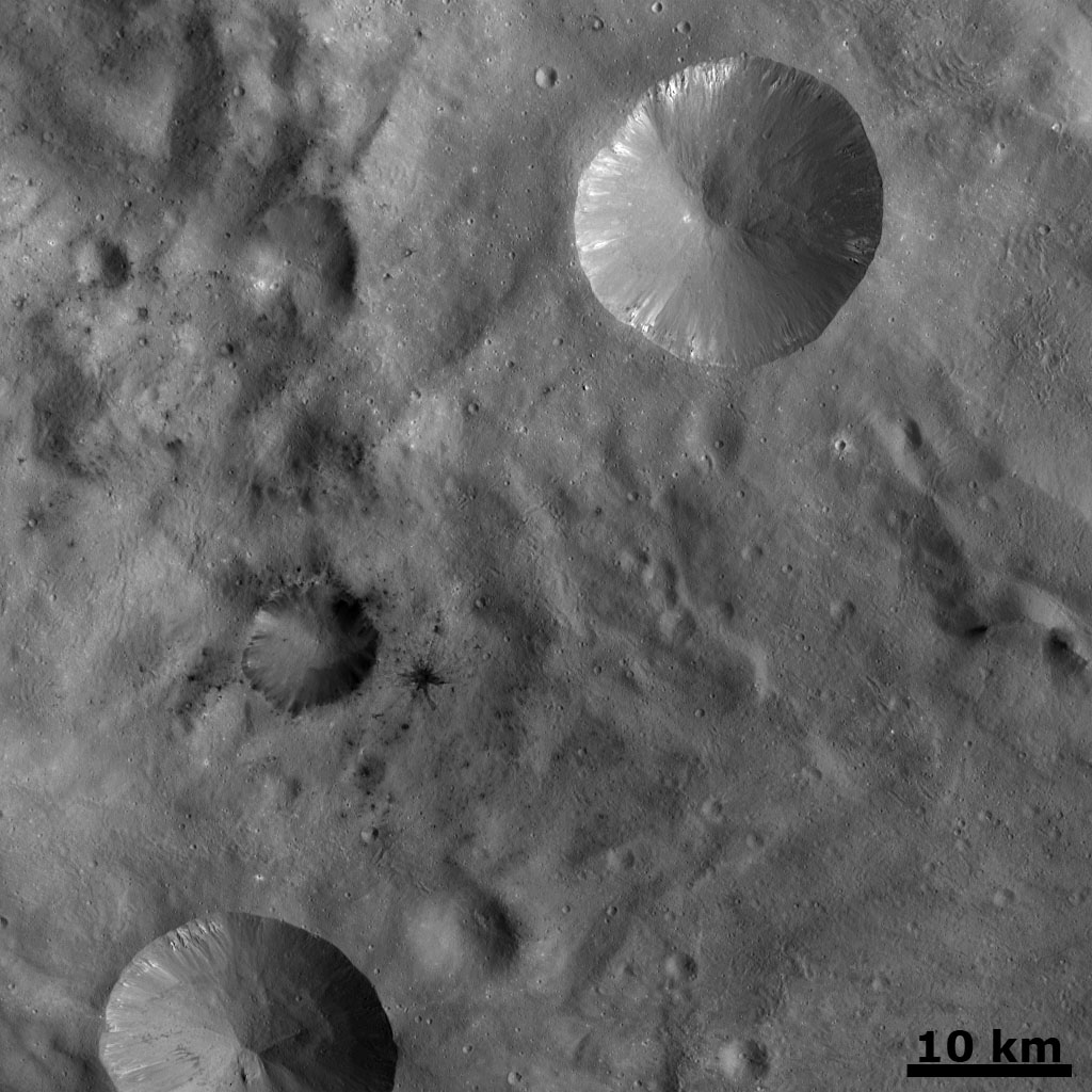 In this image from NASA's Dawn spacecraft, a number of small dark areas, mostly clustered in the center and left of the image, are visible in asteroid Vesta's cratered landscape. A lot of these dark patches are small impact craters.