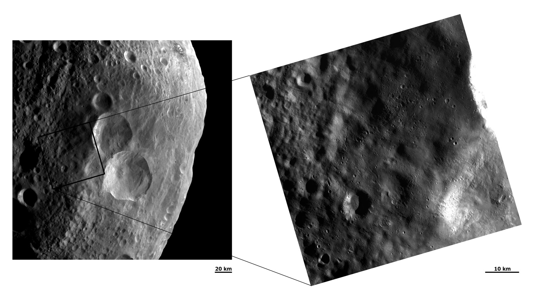 These images from NASA's Dawn spacecraft shows two different resolution views of the ejecta blanket of Vesta's 'snowman craters.' The snowman-like pattern of these craters is clearly seen in the center of the left hand image.