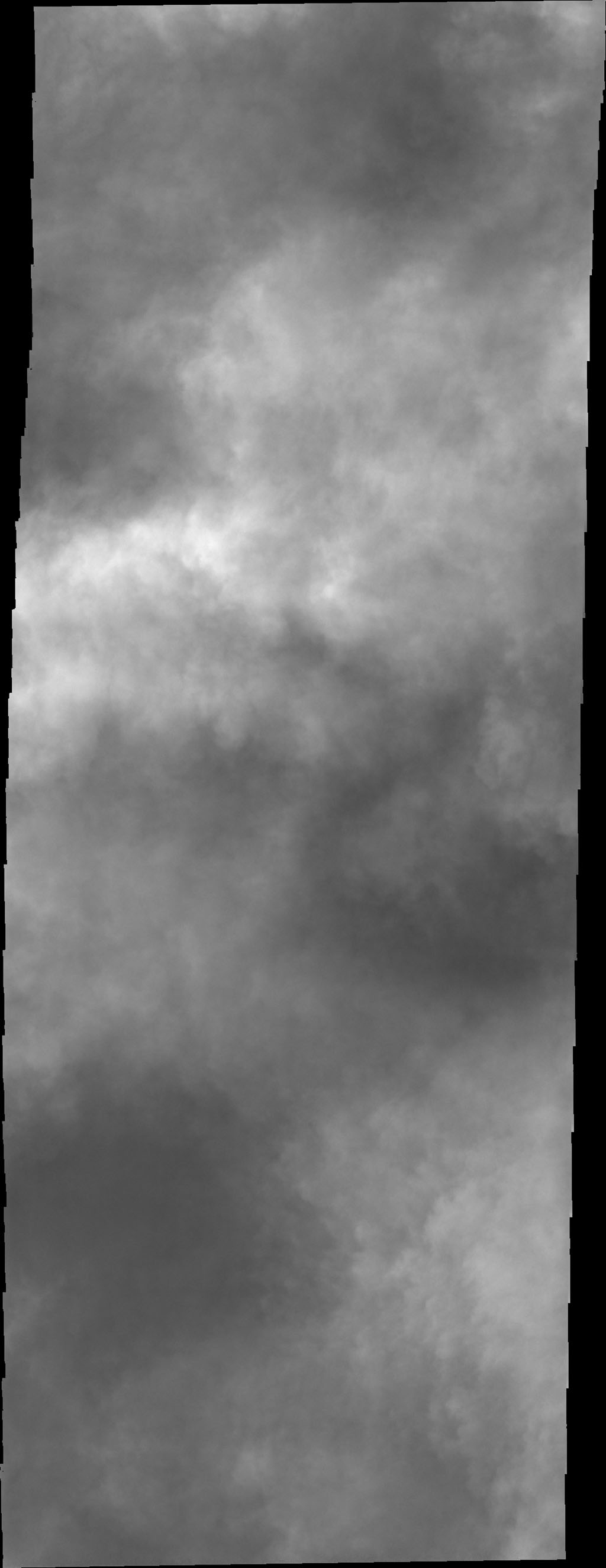 This image from NASA's 2001 Mars Odyssey spacecraft had been targeted on the dunes on the floor of Charlier Crater. Unfortunately, clouds are obscuring the view of the surface.