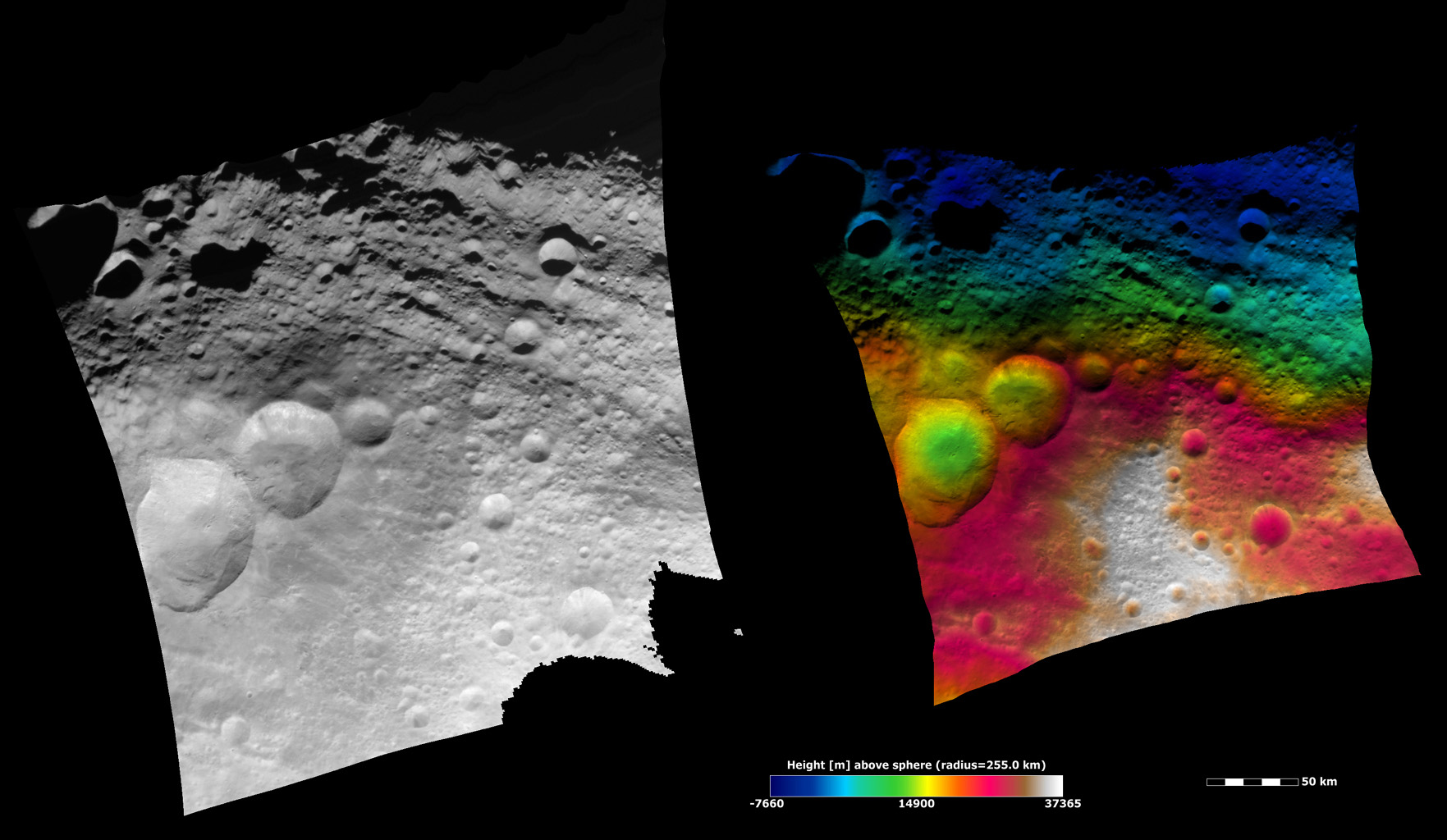 NASA's Dawn spacecraft shows the area surrounding the 'snowman craters' in asteroid Vesta's northern hemisphere.