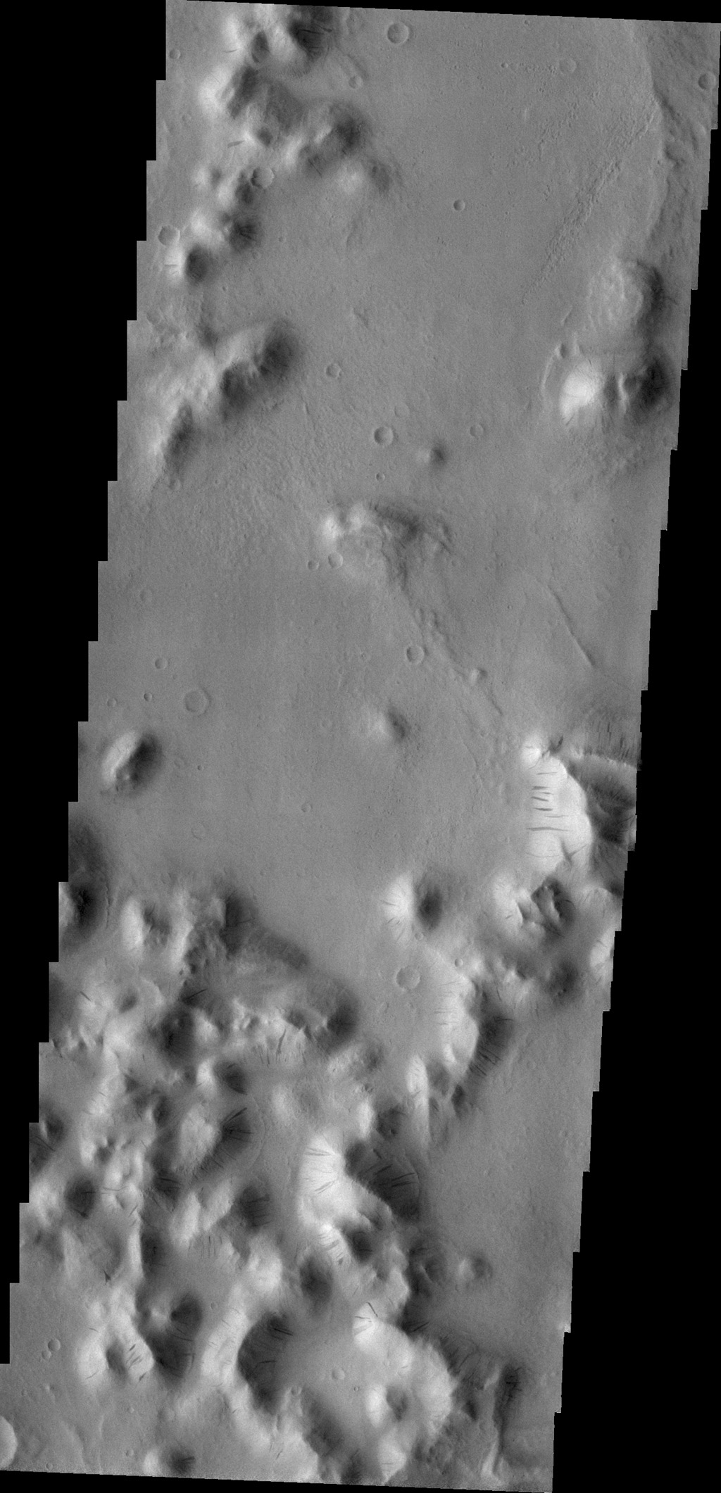 Dark slope streaks are visible in this image of Amazonis Planitia captured by NASA's 2001 Mars Odyssey spacecraft.