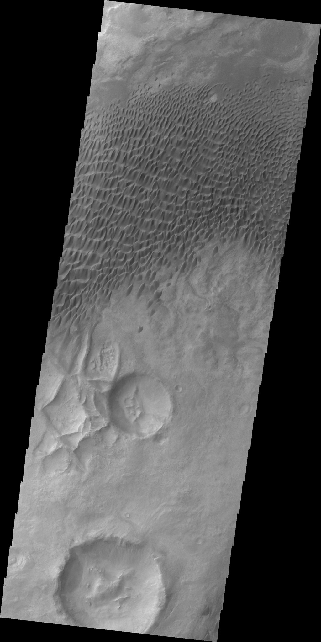 A large sandsheet with surface dune forms is shown in this image of Aonia Terra captured by NASA's 2001 Mars Odyssey spacecraft.