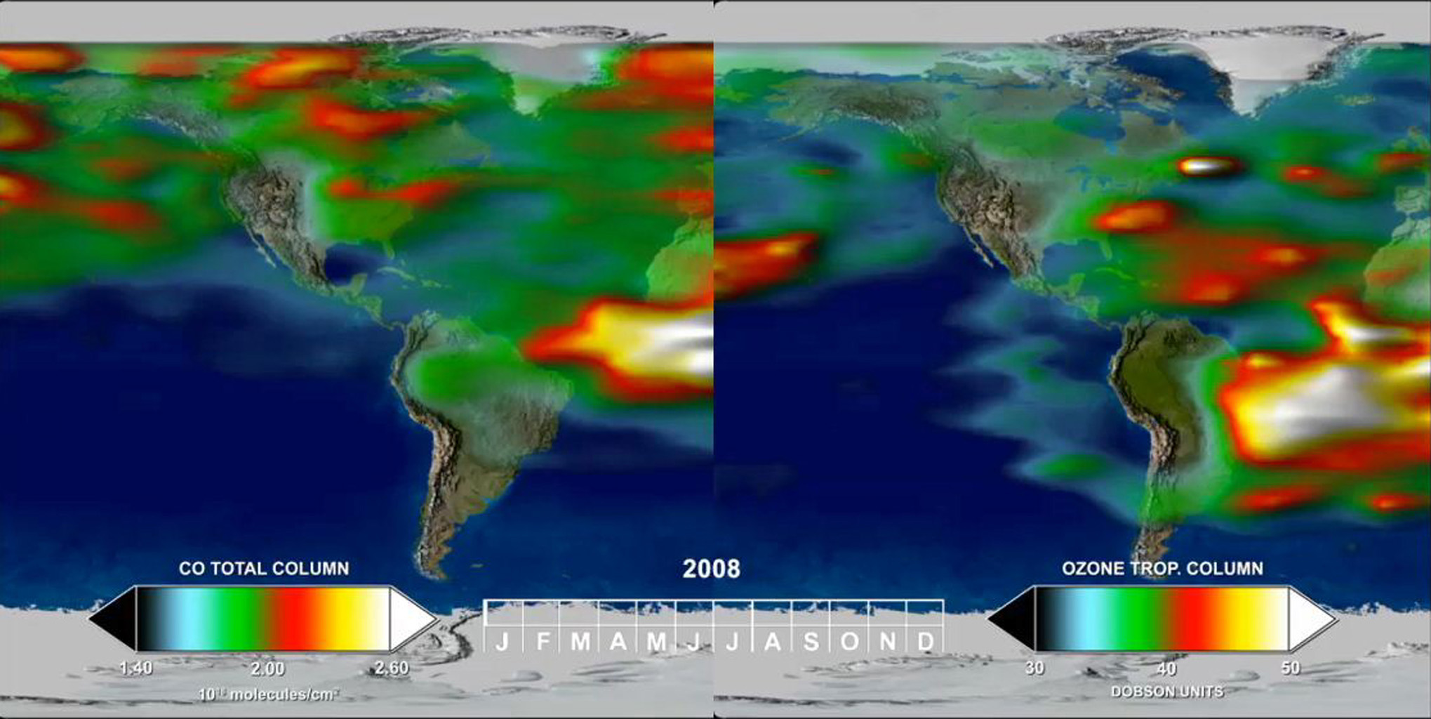 This frame from a time series, from one year of Tropospheric Emission Spectrometer (TES) measurements, shows how powerful the TES data are for understanding emissions, chemistry, and transport in the troposphere.