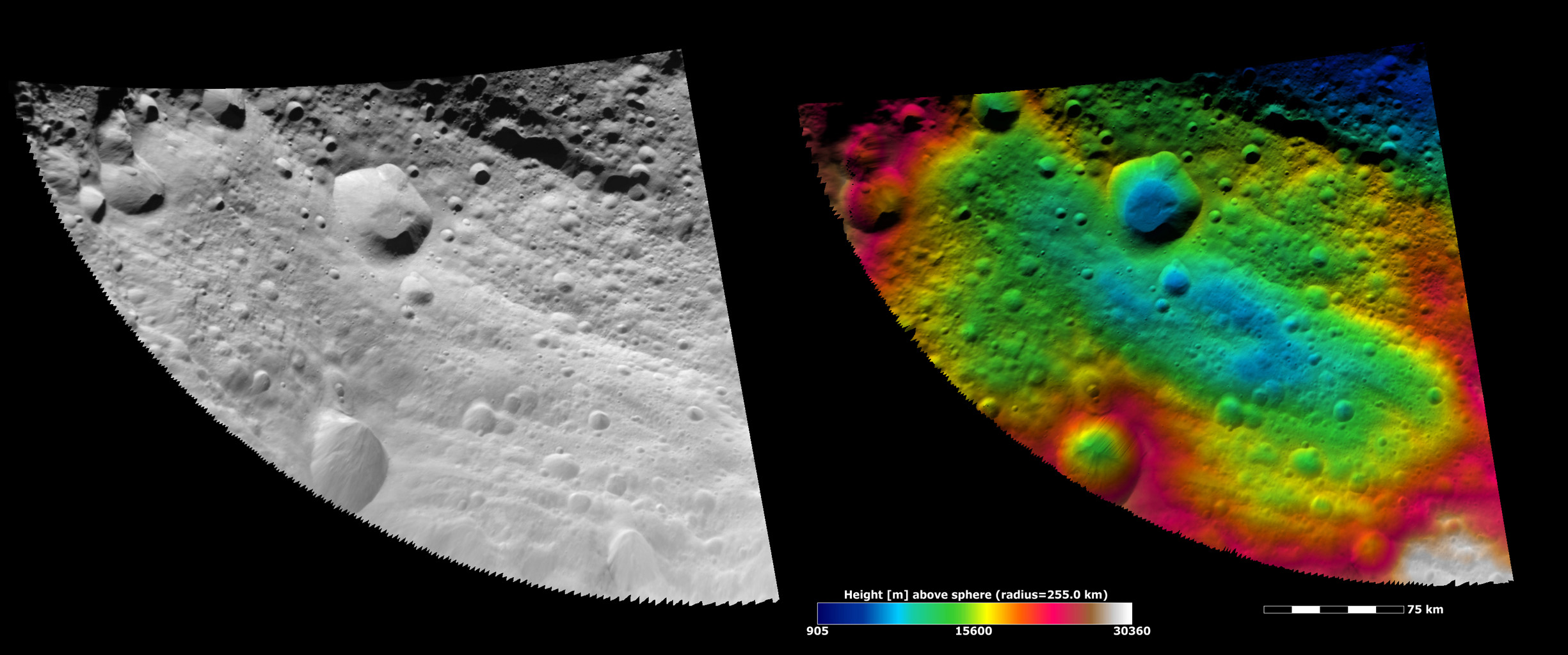 These images show part of asteroid Vesta's equatorial region, which contains impact craters and troughs (linear depressions).
