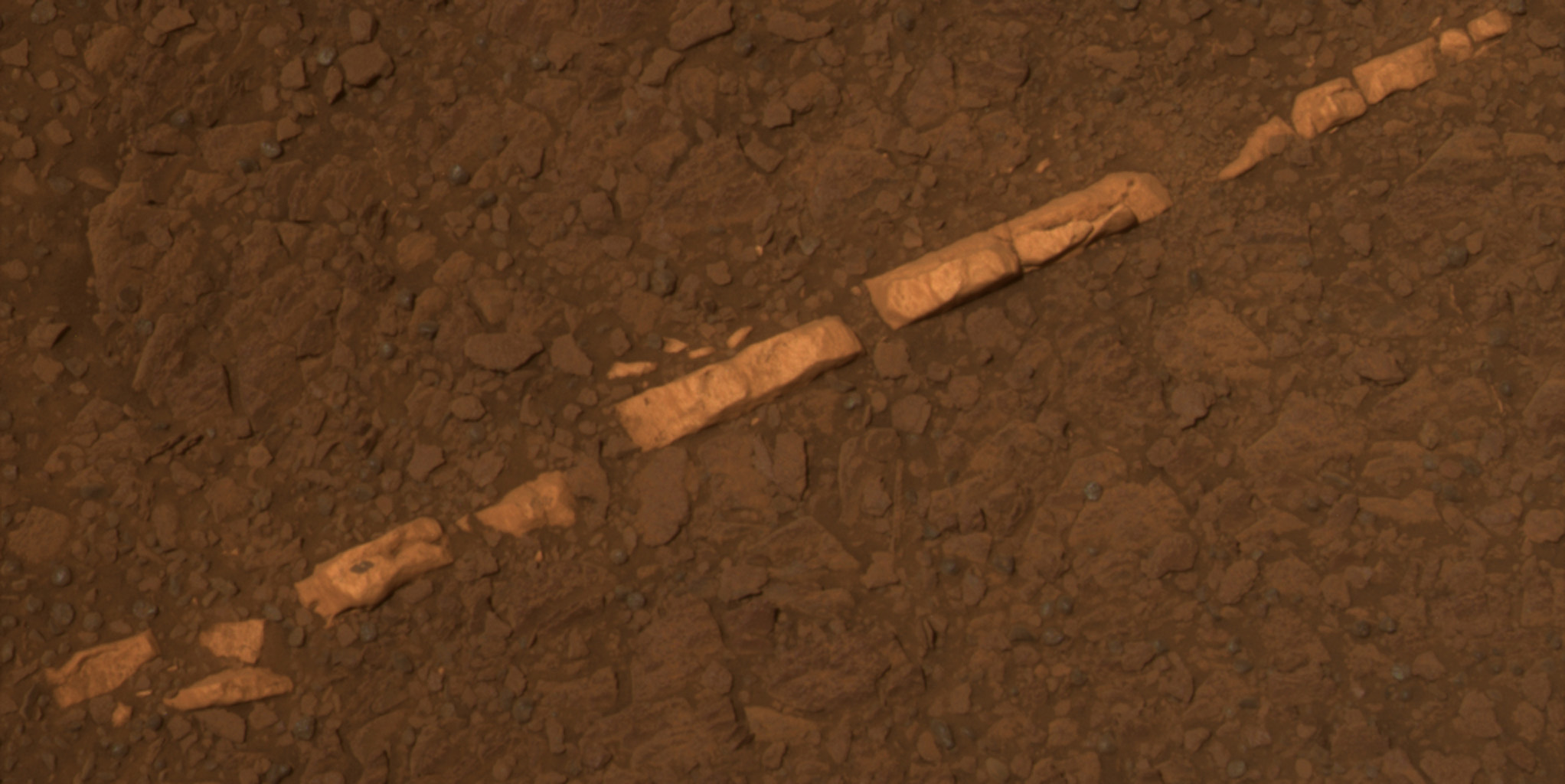 Mineral vein on the surface of Mars