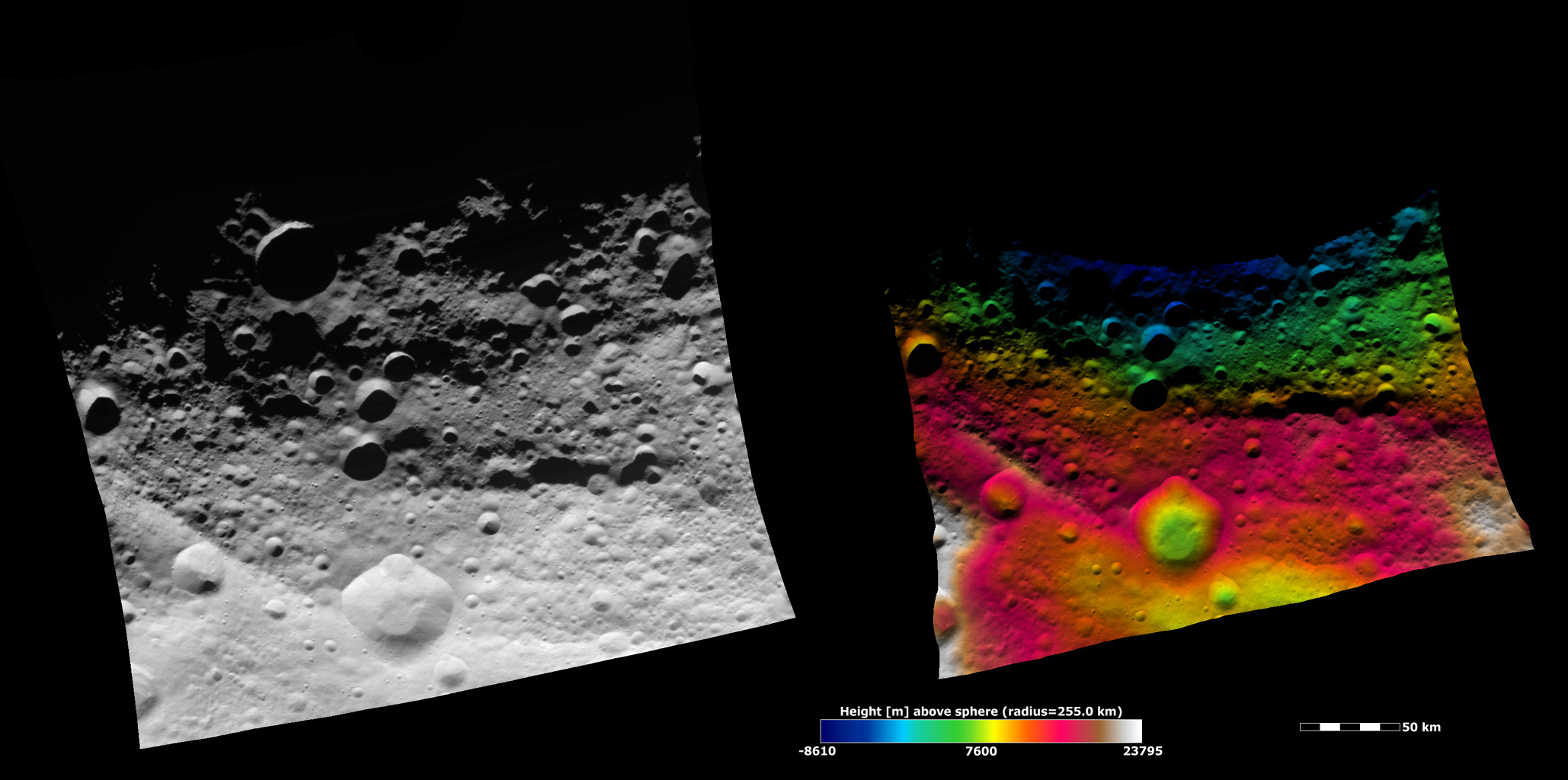These images from NASA's Dawn spacecraft show part of asteroid Vesta's equatorial region, which contains a prominent, deep impact crater (lower center of images) and large troughs (linear depressions).