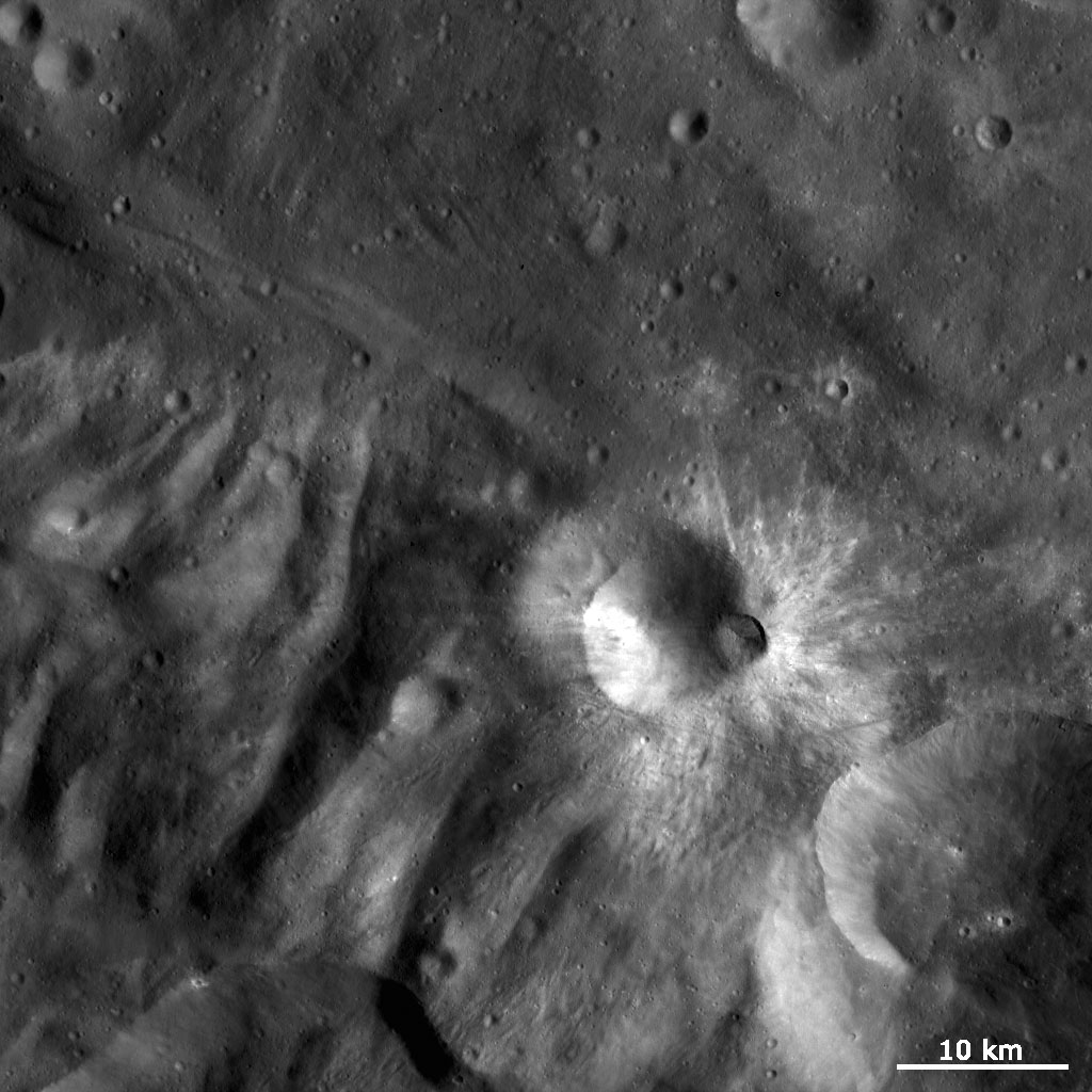 This image from NASA's Dawn spacecraft is dominated by bright rayed craters of different sizes. The most prominent bright rayed crater is named Tuccia.
