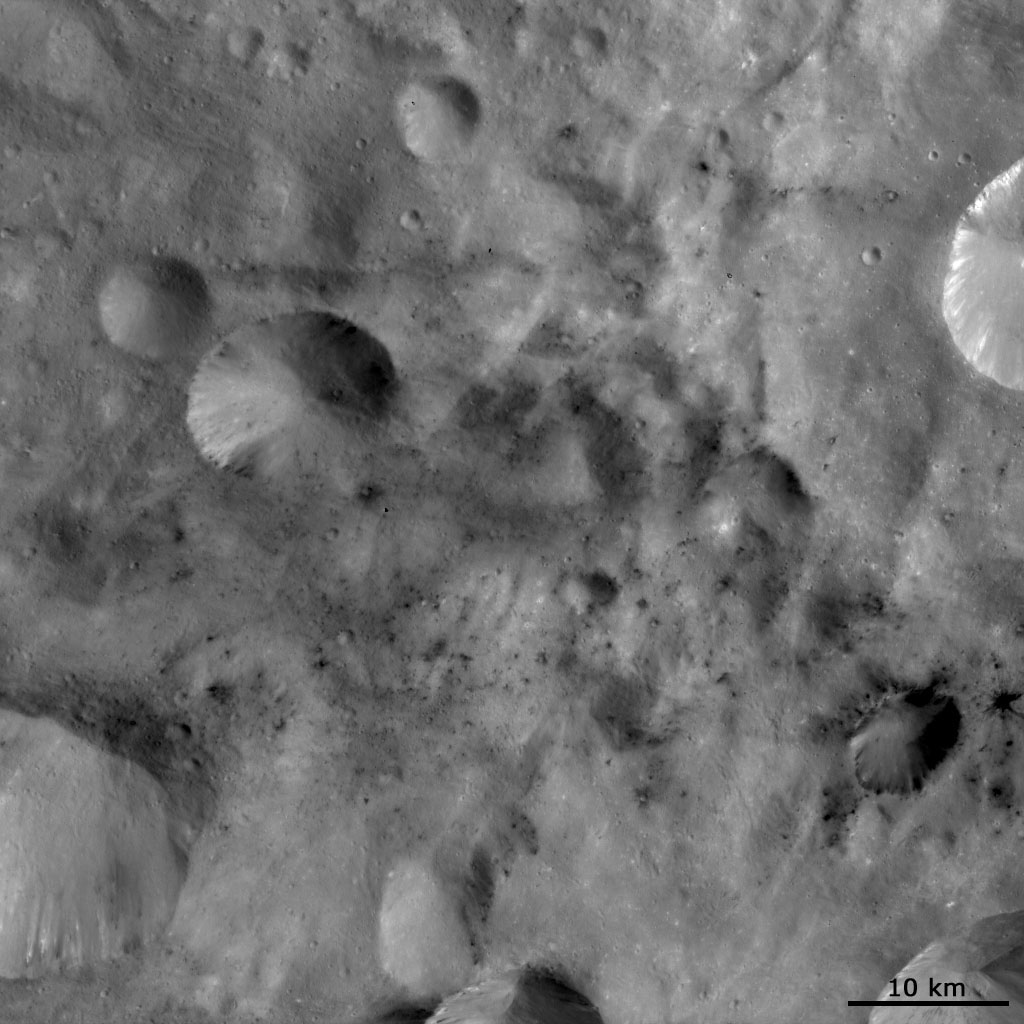 This image from NASA's Dawn spacecraft shows areas of dark material which are both associated with impact craters and between these craters on asteroid Vesta. Dark material is seen cropping out of the rims and sides of the larger craters.