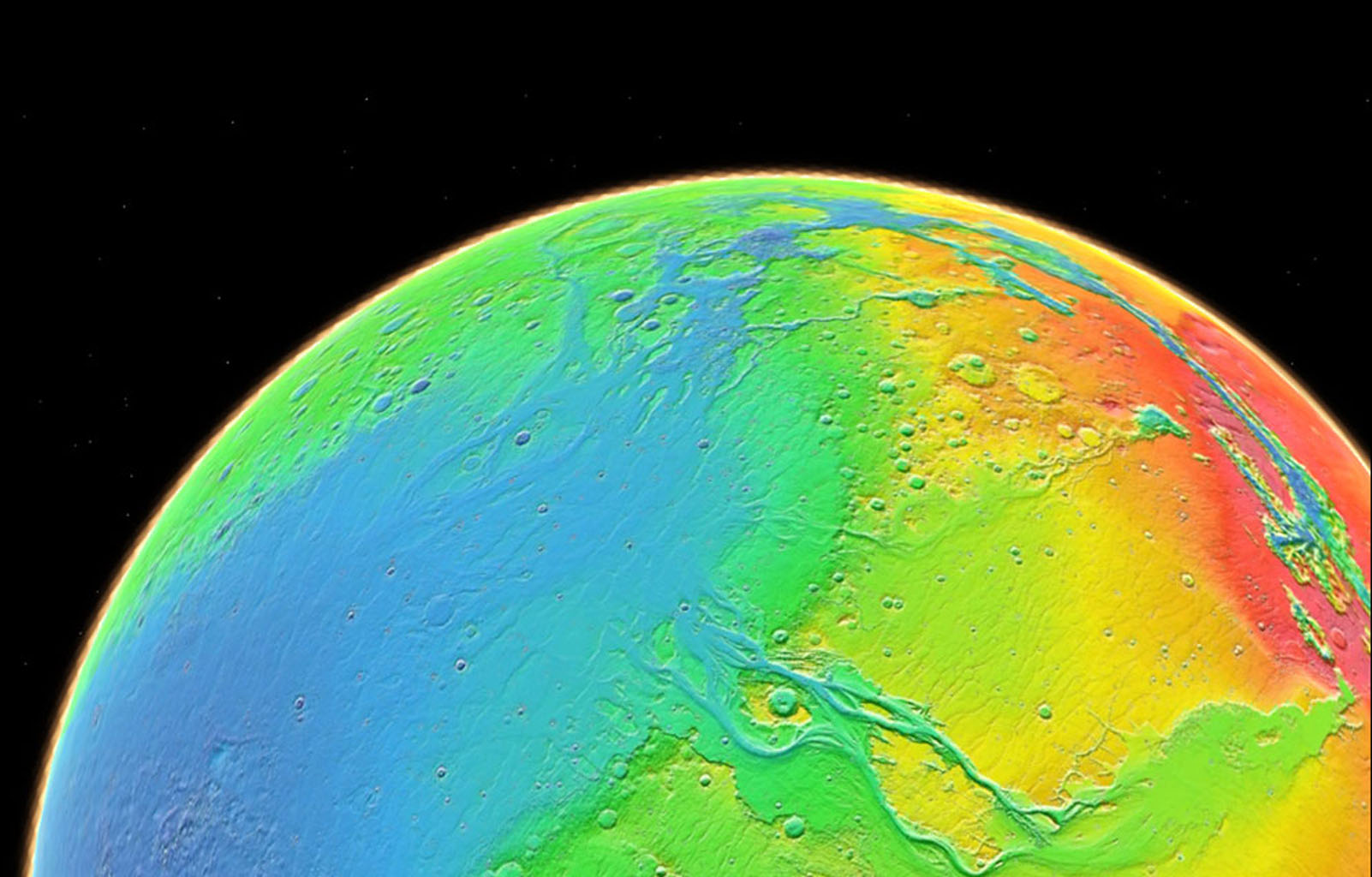 Color coding in this image of Mars represents differences in elevation, measured by NASA's Mars Global Surveyor. While surface liquid water is rare and ephermal on modern Mars.