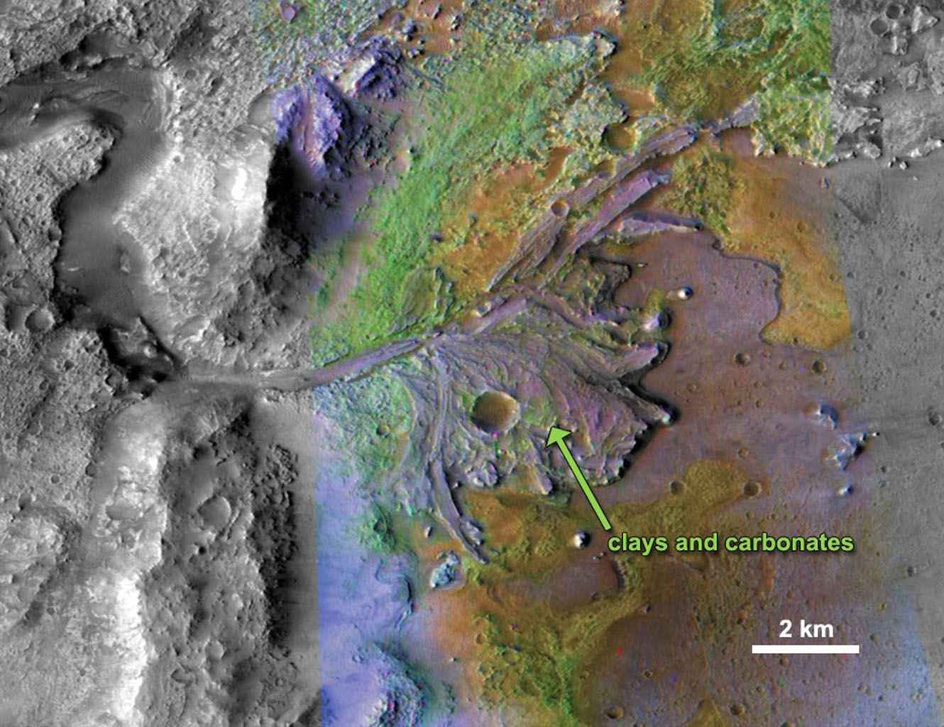 On ancient Mars, water carved channels and transported sediments to form fans and deltas within lake basins. Spectral data acquired by NASA's Mars Reconnaissance Orbiter, indicate chemical alteration by water.