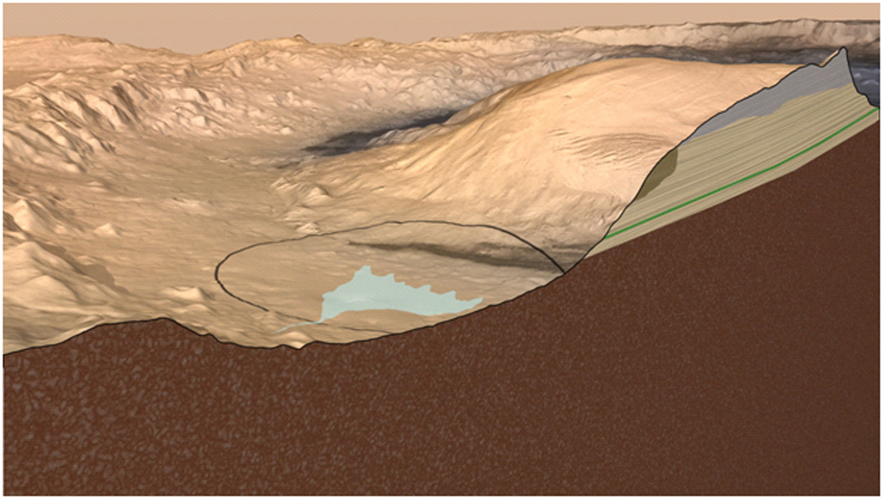 This artist's impression Mars' Gale Crater depicts a cross section through the mountain in the middle of the crater, from a viewpoint looking toward the southeast. NASA's rover Curiosity will land in Gale Crater in August 2012.