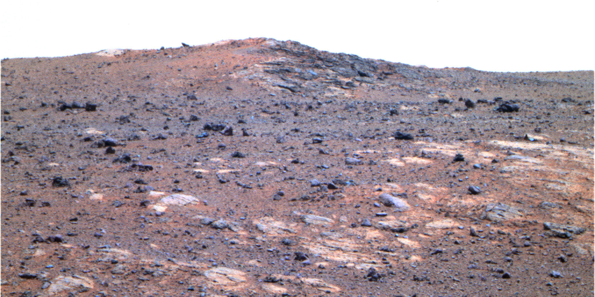 The feature informally named 'Shoemaker Ridge' in the 'Cape York' segment of the western rim of Endeavour Crater includes outcrops that are likely impact breccias as seen by NASA's rover Opportunity.