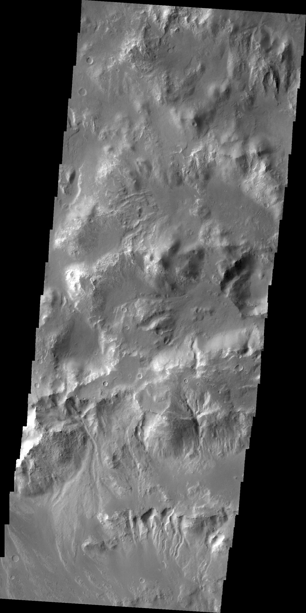 Gullies are visible in this image of the northern rim of Holden Crater as seen by NASA's 2001 Mars Odyssey spacecraft.