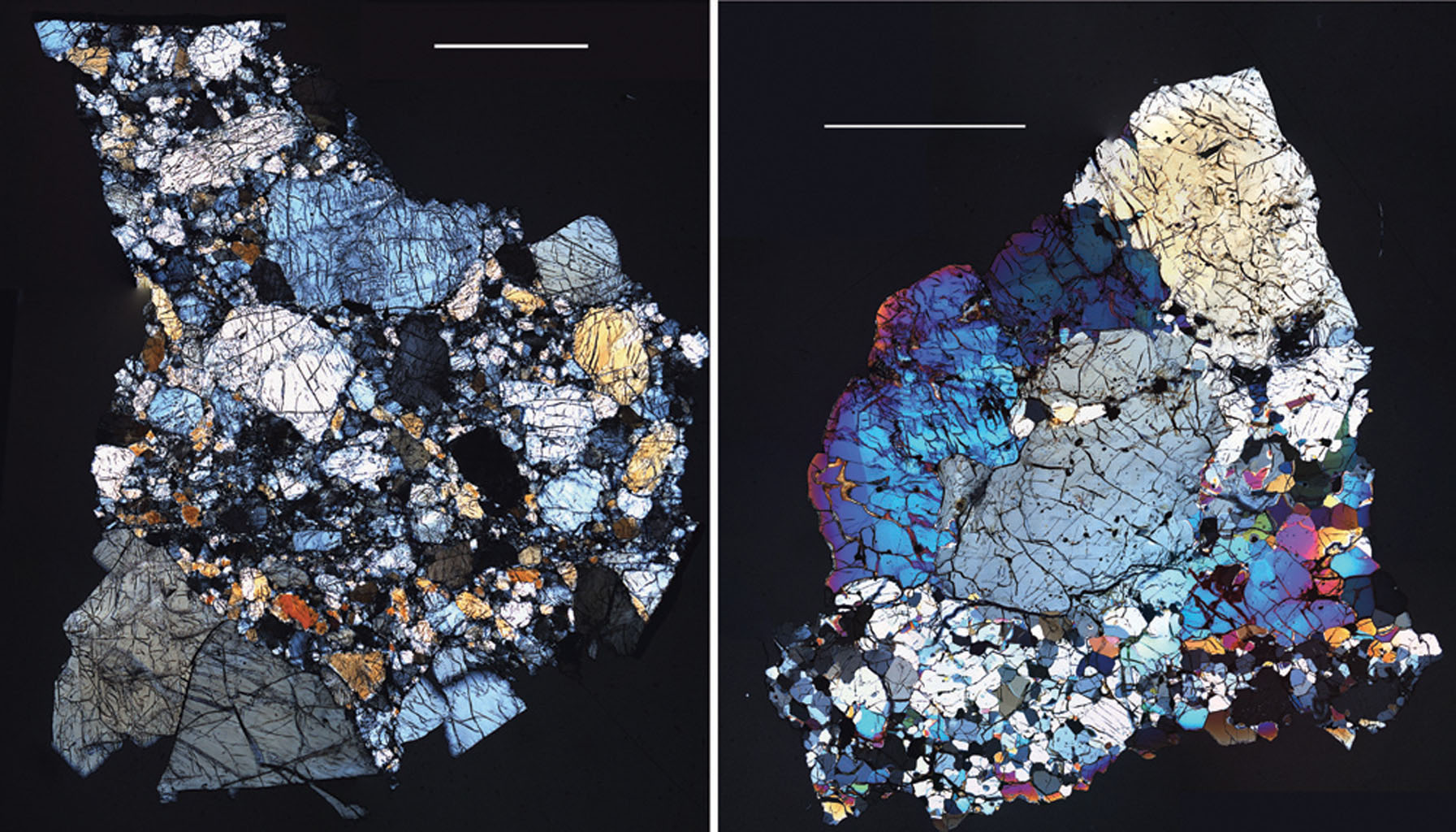 These images are of HED (howardite, eucrite and diogenite) meteorites are a large group of meteorites believed to originate from asteroid Vesta, a hypothesis that is consistent with current Dawn observations.