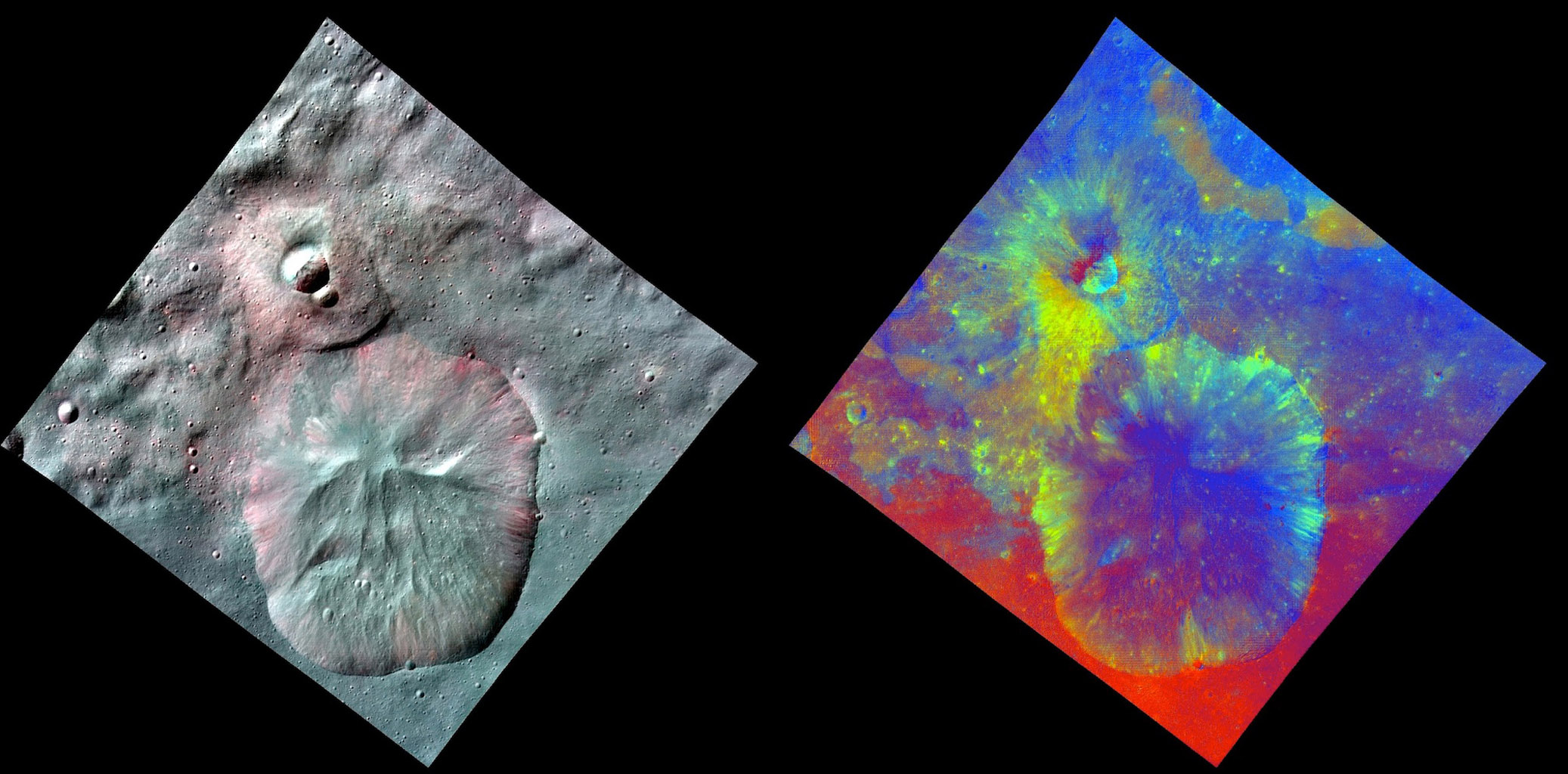 This image combines two separate views of the giant asteroid Vesta obtained by NASA's Dawn spacecraft. The data reveal a world of many varied, well-separated layers and ingredients.