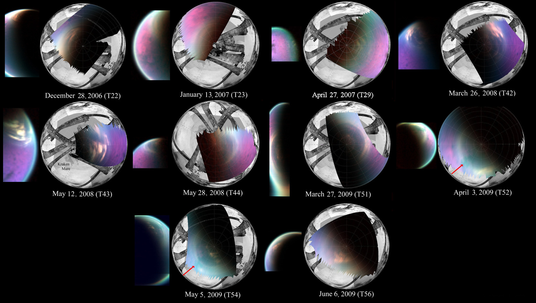 This series of images obtained by NASA's Cassini spacecraft shows several views of the north polar cloud covering Saturn's moon Titan.