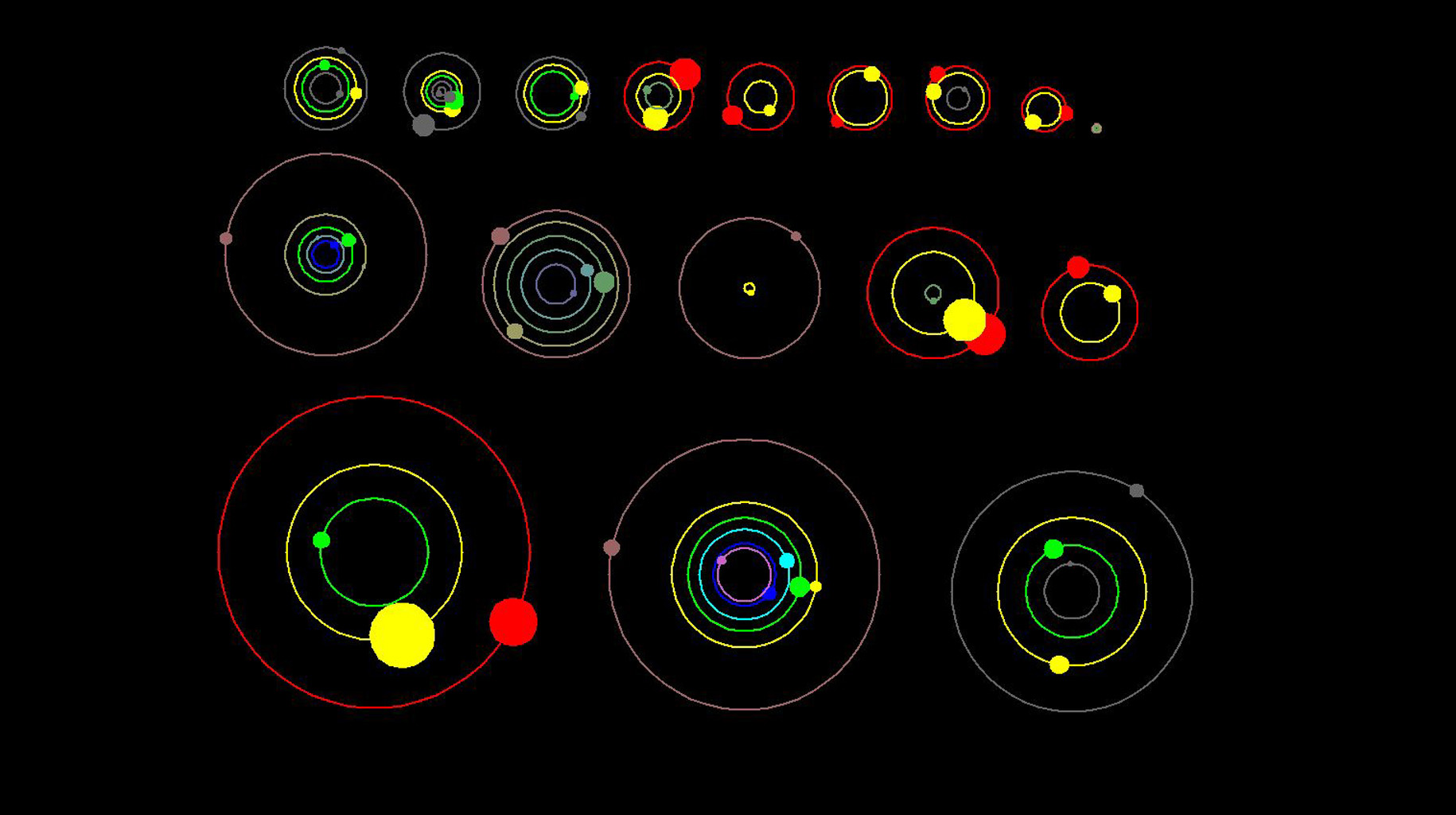 This artist's concept shows an overhead view of the orbital position of the planets in systems with multiple transiting planets discovered by NASA's Kepler mission. All the colored planets have been verified.