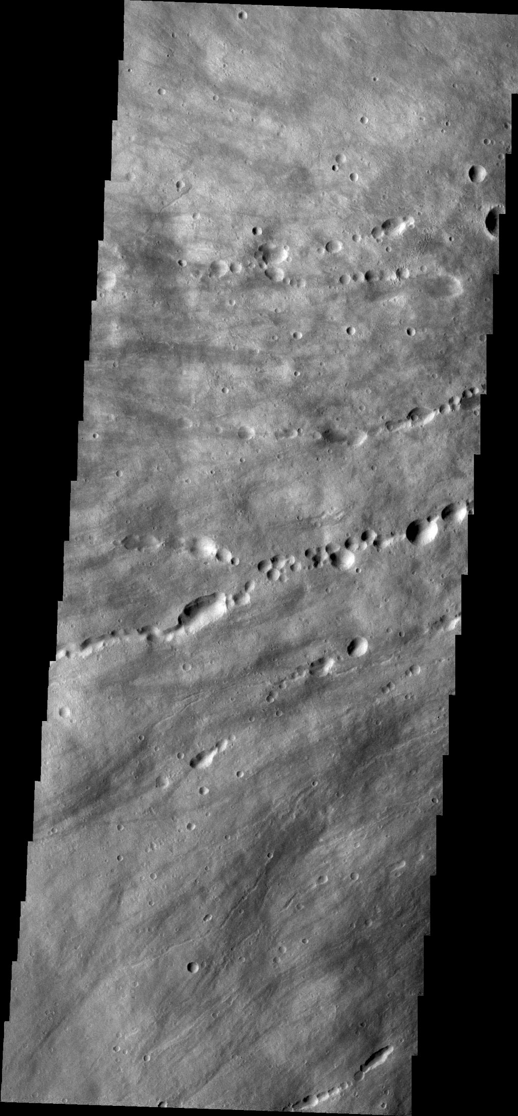 This image captured by NASA's 2001 Mars Odyssey spacecraft shows the western flank of Elysium Mons.