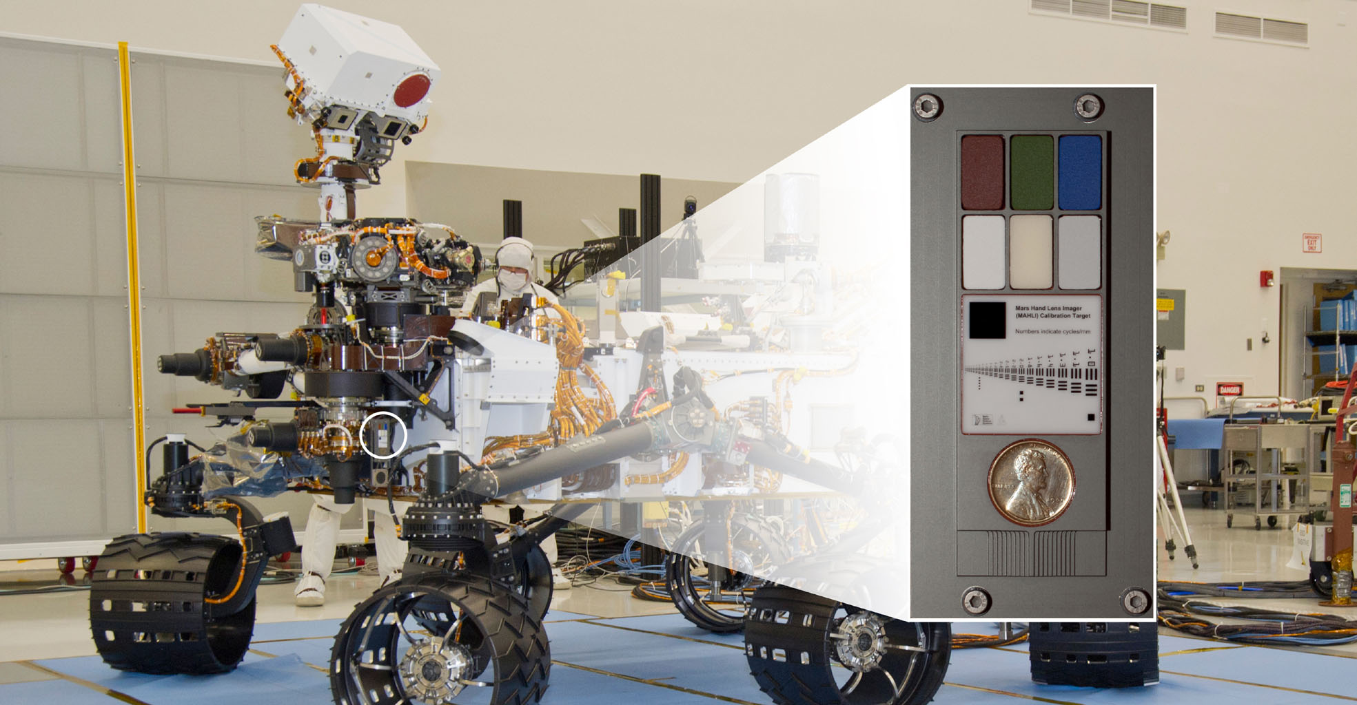 The Mars Hand Lens Imager (MAHLI) camera at the end of the robotic arm of NASA's Curiosity rover will use a calibration target attached to a shoulder joint of the arm.