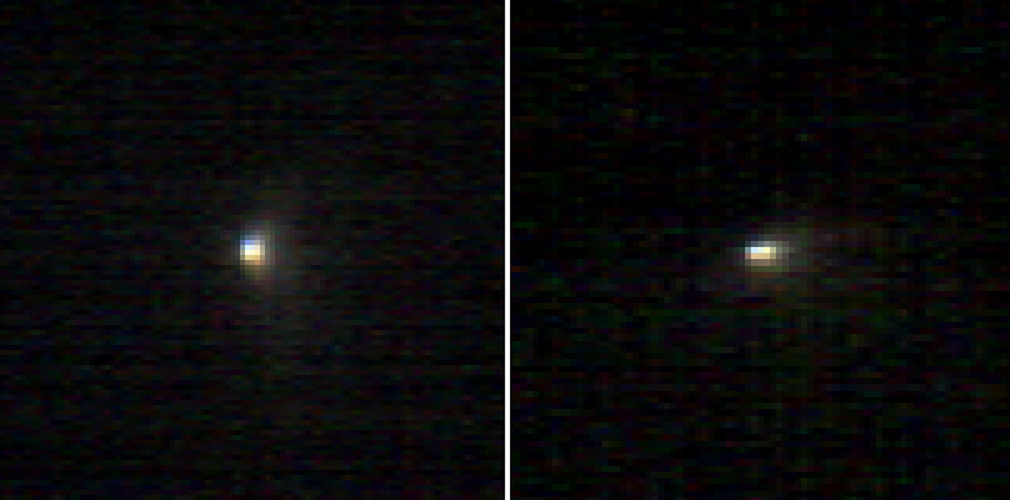 These two infrared images of comet C/2013 A1 Siding Spring were taken by the Compact Reconnaissance Imaging Spectrometer for Mars (CRISM) aboard NASA's Mars Reconnaissance Orbiter on Oct. 19, 2014.