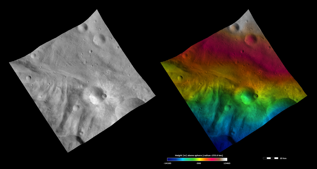These images from NASA's Dawn spacecraft show Tuccia crater, after which Tuccia quadrangle is named. Tuccia crater is located about 40 kilometers (25 miles) northward of the rim of Vesta's large south polar Rheasilvia basin.