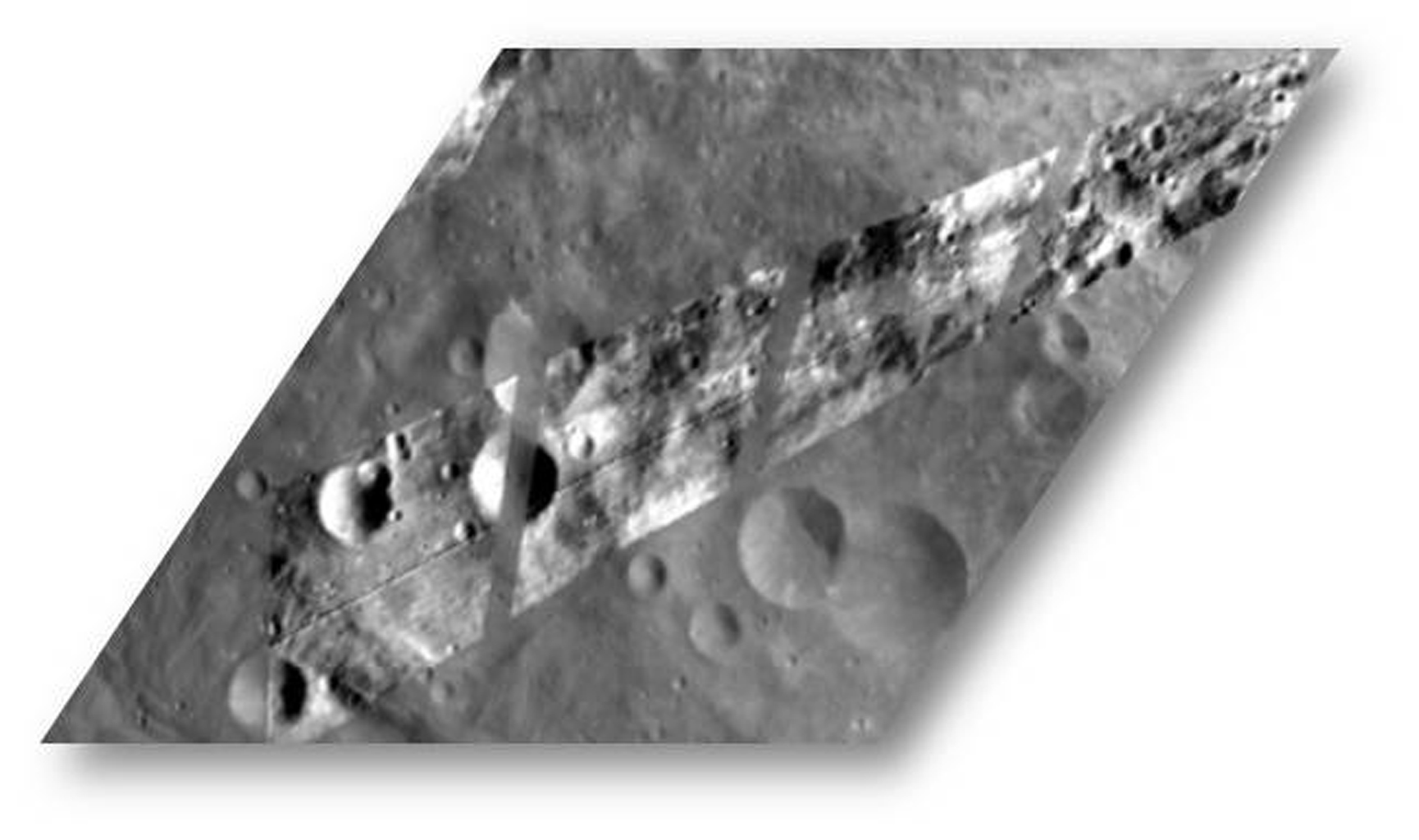 This image from NASA's Dawn spacecraft shows Dawn visible and infrared spectrometer image, overlain on top of a framing camera image of the same region on asteroid Vesta.