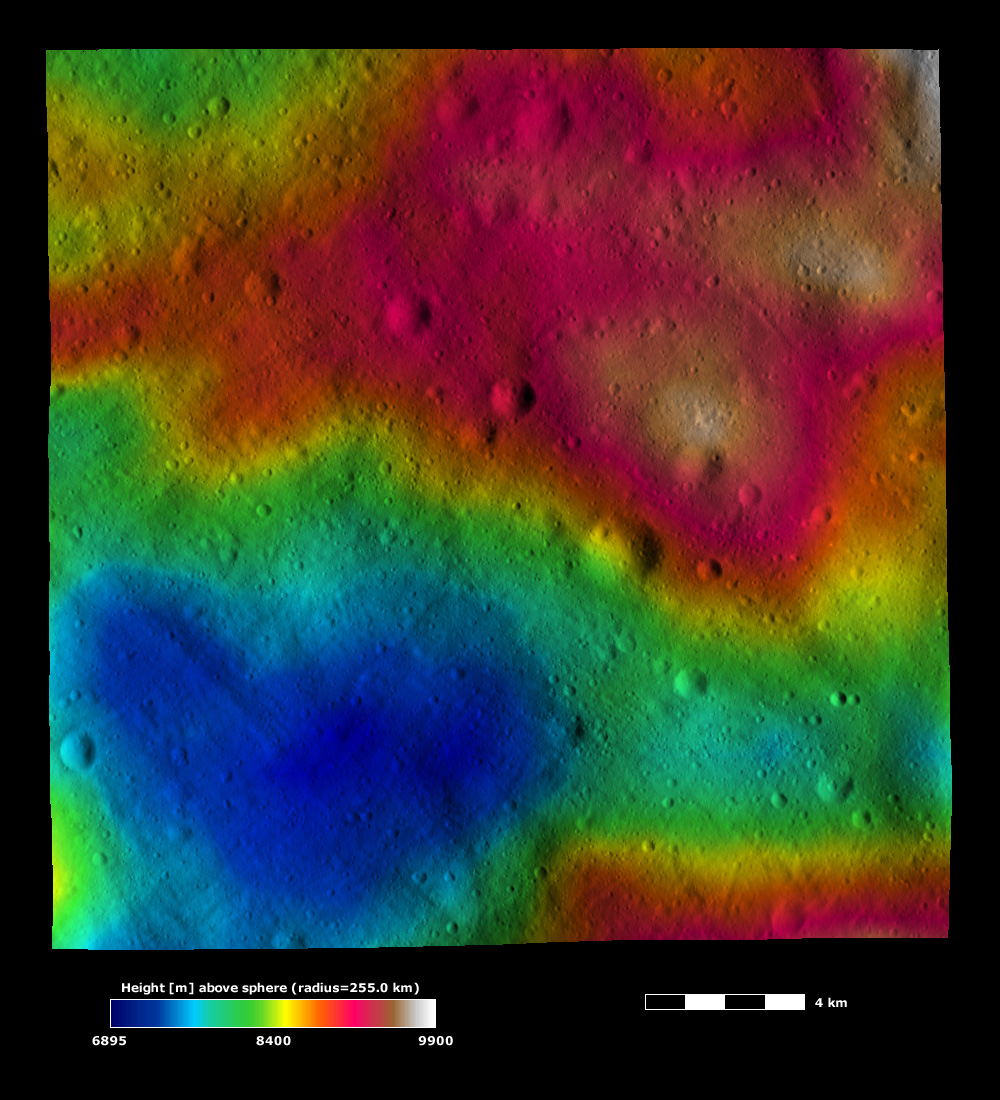This image from NASA's Dawn spacecraft, is based on a framing camera image that is overlain by a color-coded height representation of topography. This heart-shaped hollow is roughly 10 kilometers (6 miles) across at its widest point.