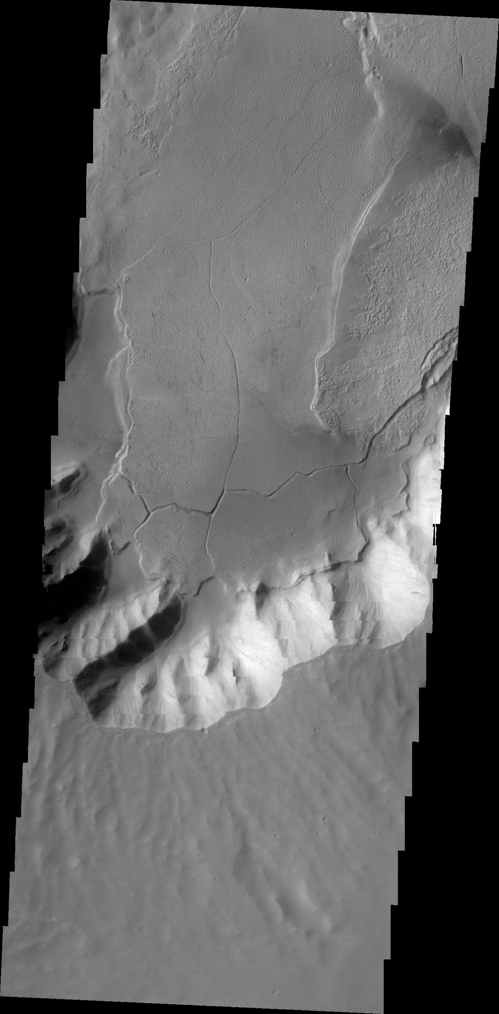 This image from NASA's 2001 Mars Odyssey spacecraft shows lava flows terminating at the foot of canyon walls in Echus Chasma. These lava flows are also fractured into large plates in this region.