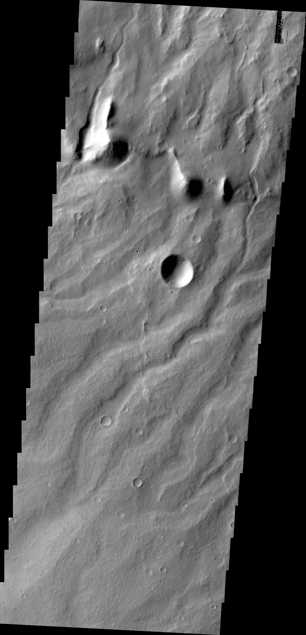 The parallel channels seen in this image NASA's 2001 Mars Odyssey spacecraft captured by are dissecting the flanks of Apollinaris Mons, a large volcano north of Gusev Crater.