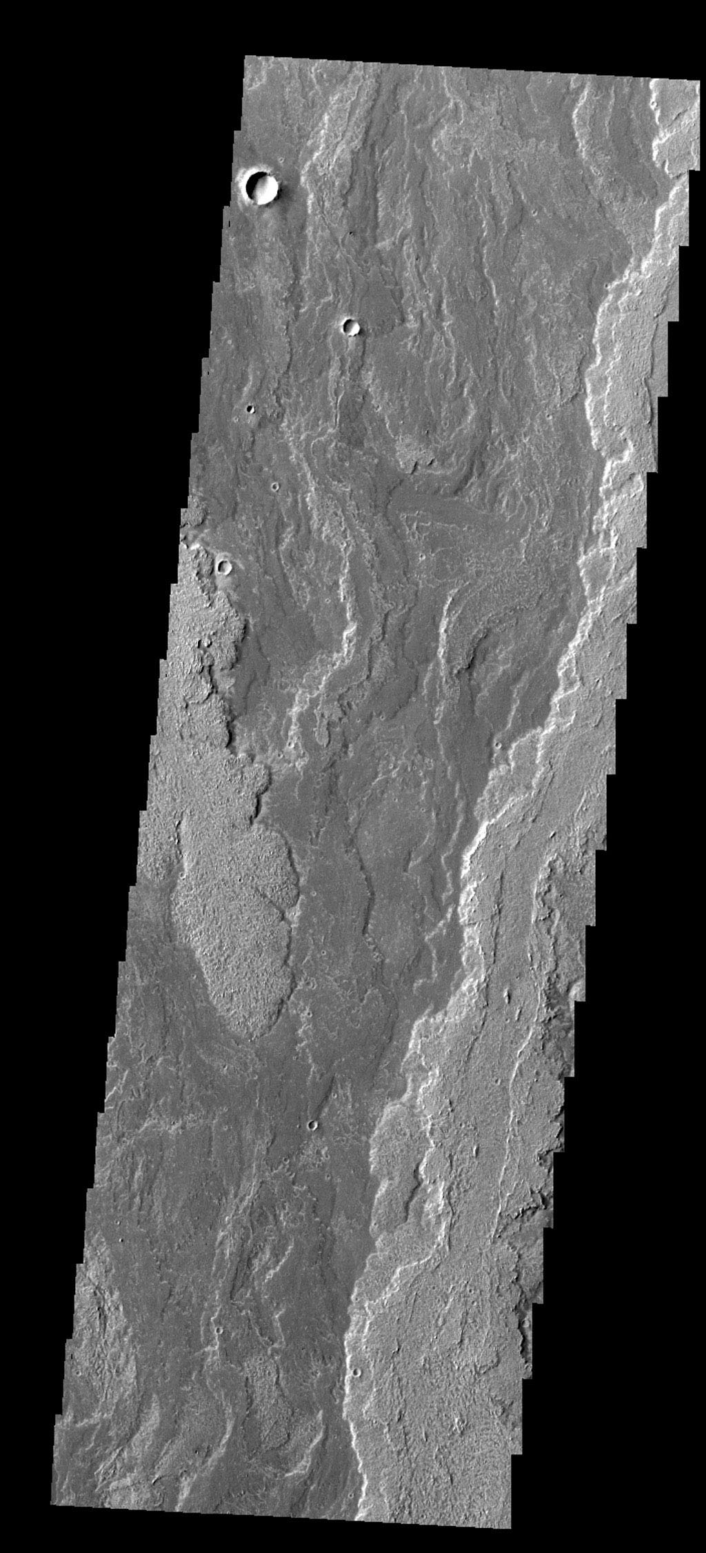 The lava flows seen in this image from NASA's 2001 Mars Odyssey spacecraft are part of Daedalia Planum. The flows are associated with Arsia Mons.
