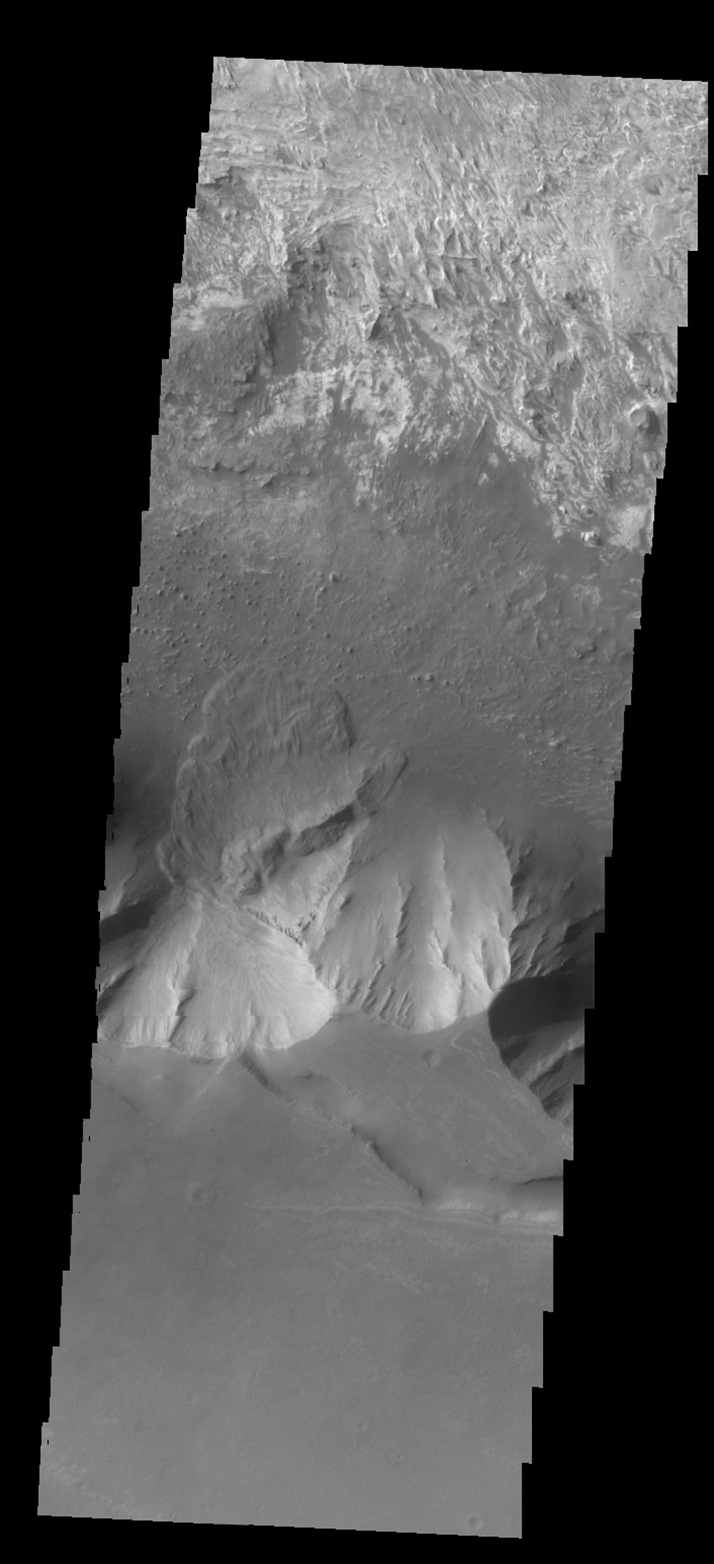 The mitten-shaped feature in Candor Chasma is a landslide deposit in this image from NASA's 2001 Mars Odyssey spacecraft.