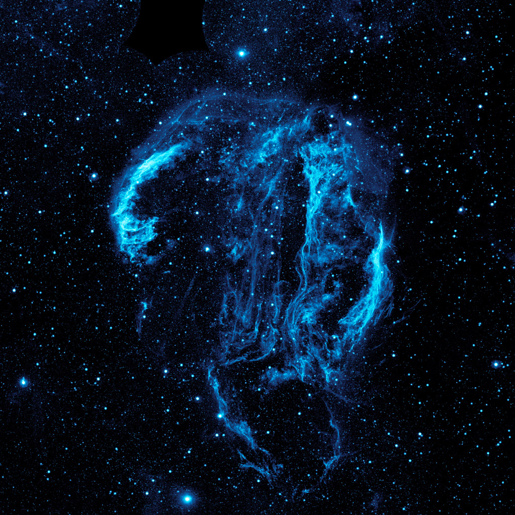 Wispy tendrils of hot dust and gas glow brightly in this ultraviolet image of the Cygnus Loop nebula, taken by NASA's Galaxy Evolution Explorer. The nebula lies about 1,500 light-years away.