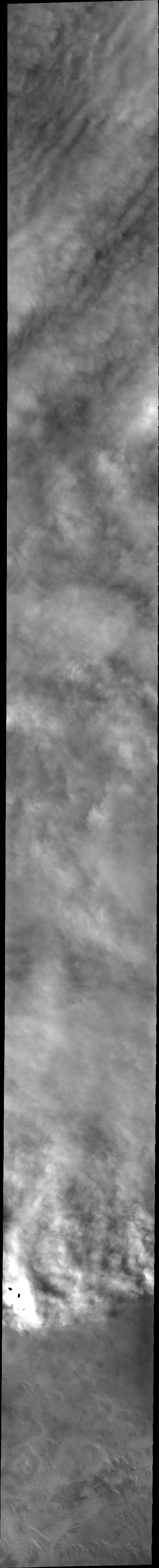 This image captured by NASA's 2001 Mars Odyssey spacecraft shows the edge of the clouds in a weather front in the northern latitudes.