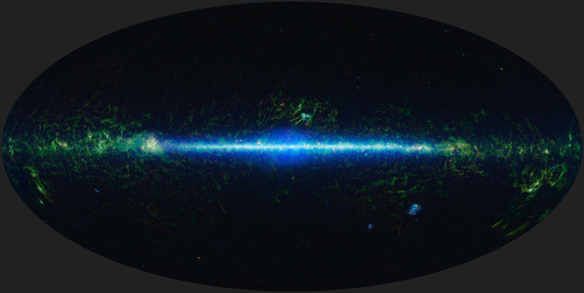 This is a mosaic of the images covering the entire sky as observed by NASA's Wide-field Infrared Survey Explorer (WISE), part of its All-Sky Data Release. In this mosaic, the Milky Way Galaxy runs horizontally across the map.