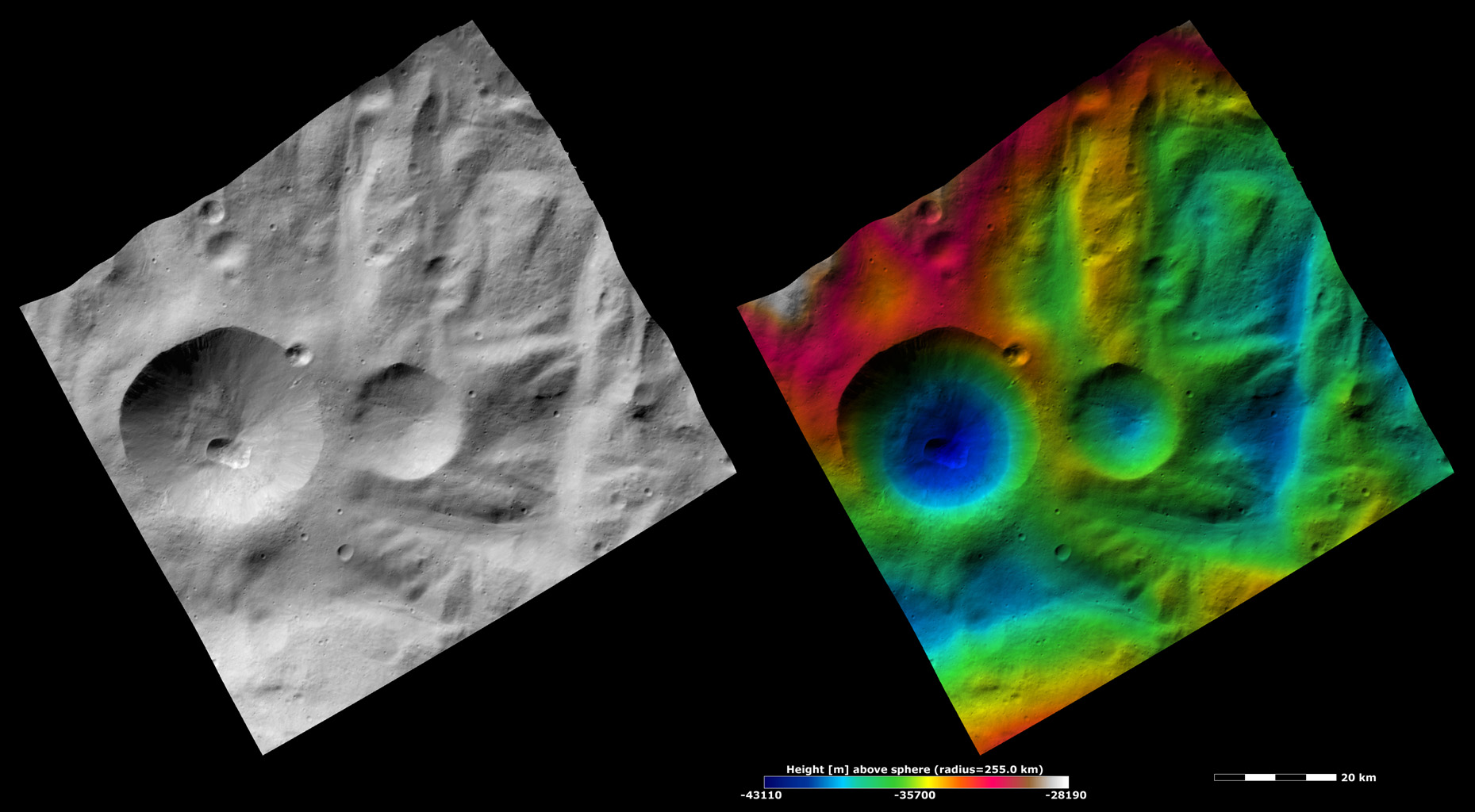 These images are located in Vesta's Rheasilvia quadrangle, near asteroid Vesta's south pole. NASA's Dawn spacecraft obtained the apparent brightness image with its framing camera on Oct. 22, 2011.