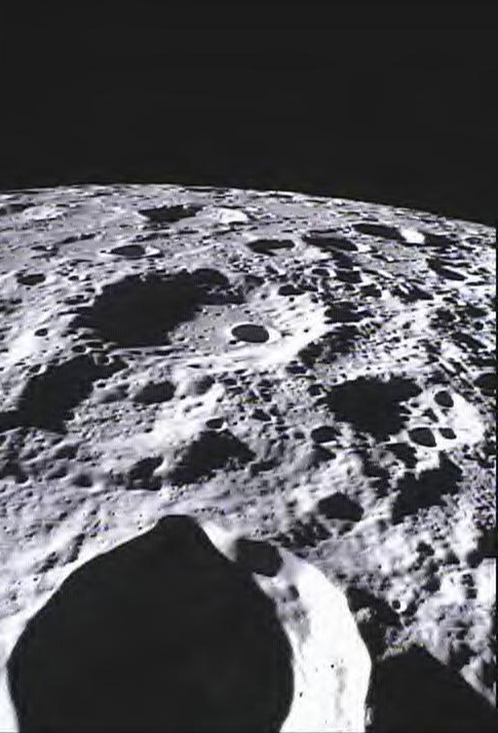 This image of the lunar surface was taken by NASA's MoonKAM system onboard the Ebb spacecraft and shows Crater Poinsot located on the northern part of the moon's far side.