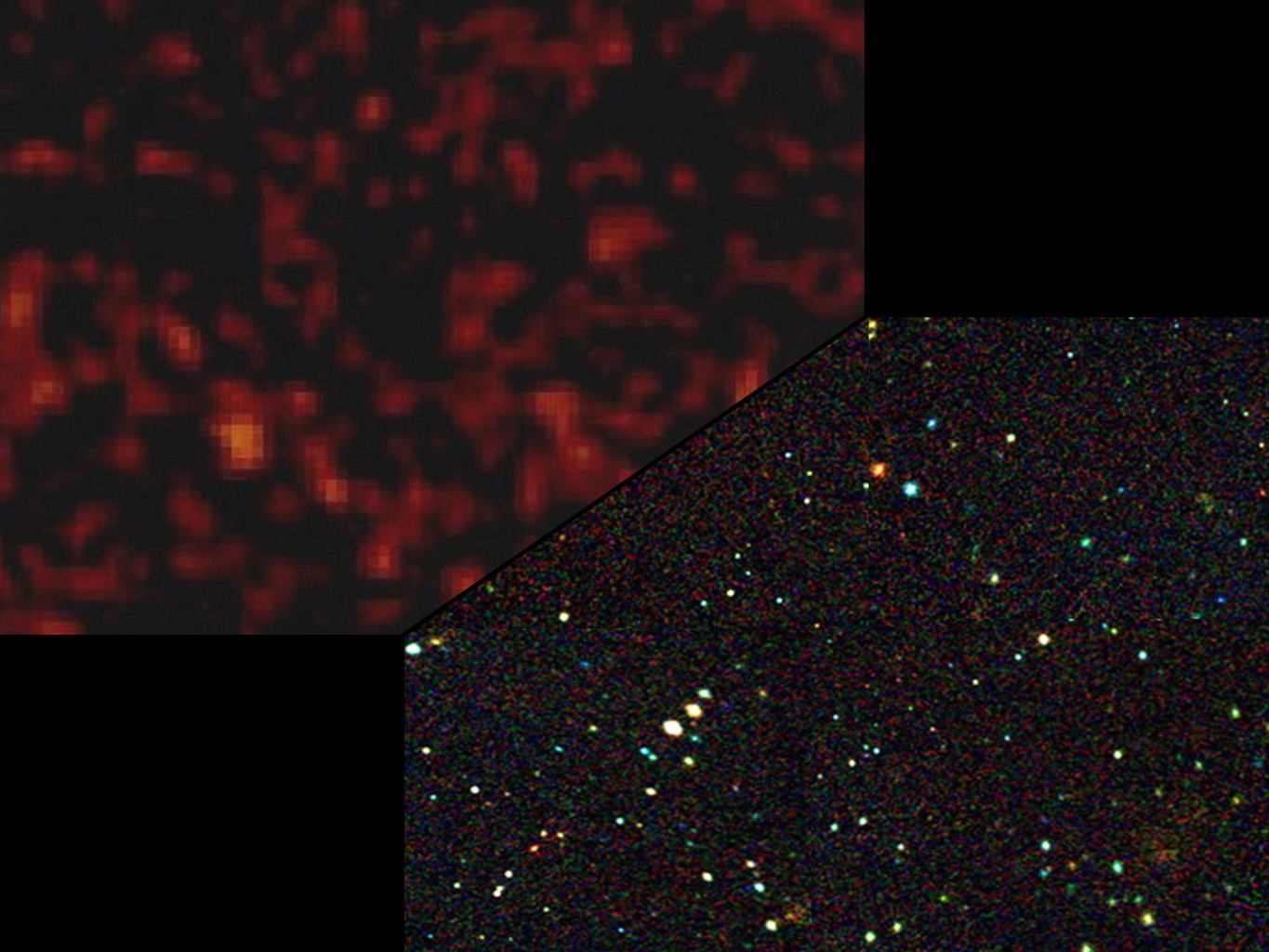 NASA's NuSTAR will be able to identify individual black holes making up the diffuse X-ray glow, also called the X-ray background. At bottom right is a simulated view of what NuSTAR will see.