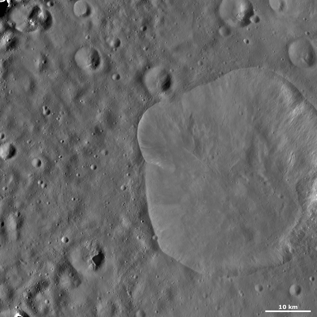 This image from NASA's Dawn spacecraft of asteroid Vesta shows Lepida crater, located in Vesta's Floronia quadrangle, in Vesta's northern hemisphere.