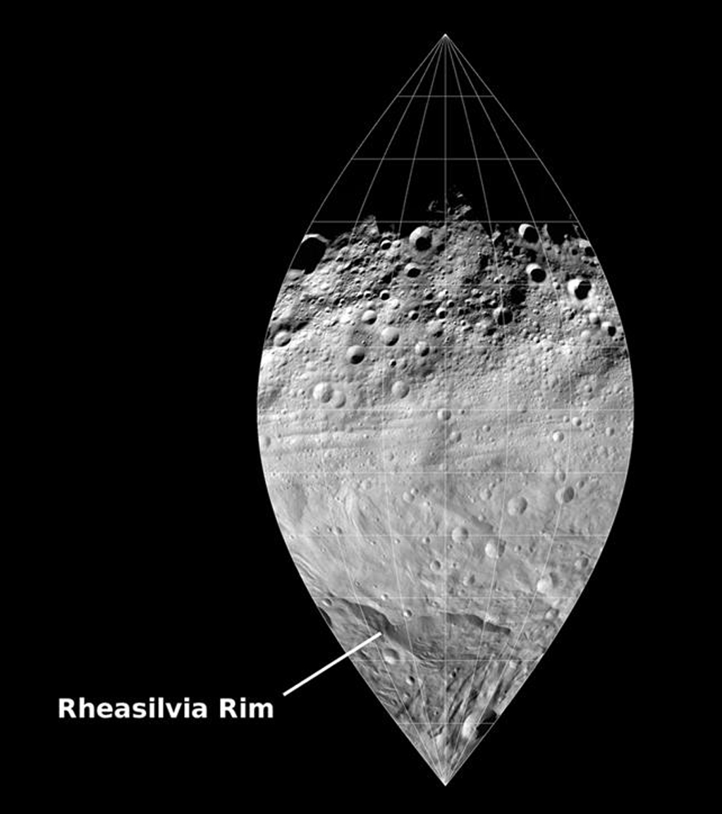 This image mosaic from NASA's Dawn mission shows a slice of the surface of the giant asteroid Vesta. This mosaic, which covers one quarter of Vesta's surface, shows the pronounced difference between the northern and southern hemispheres.