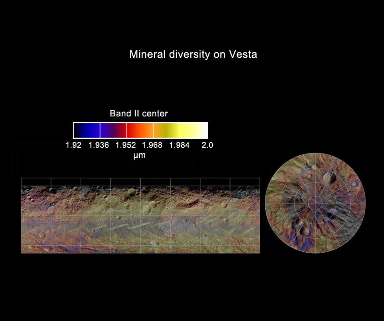 This colorized map from NASA's Dawn mission shows the distribution of minerals across the surface of the giant asteroid Vesta. It was made from spectra -- or data collected in different wavelengths of radiation.