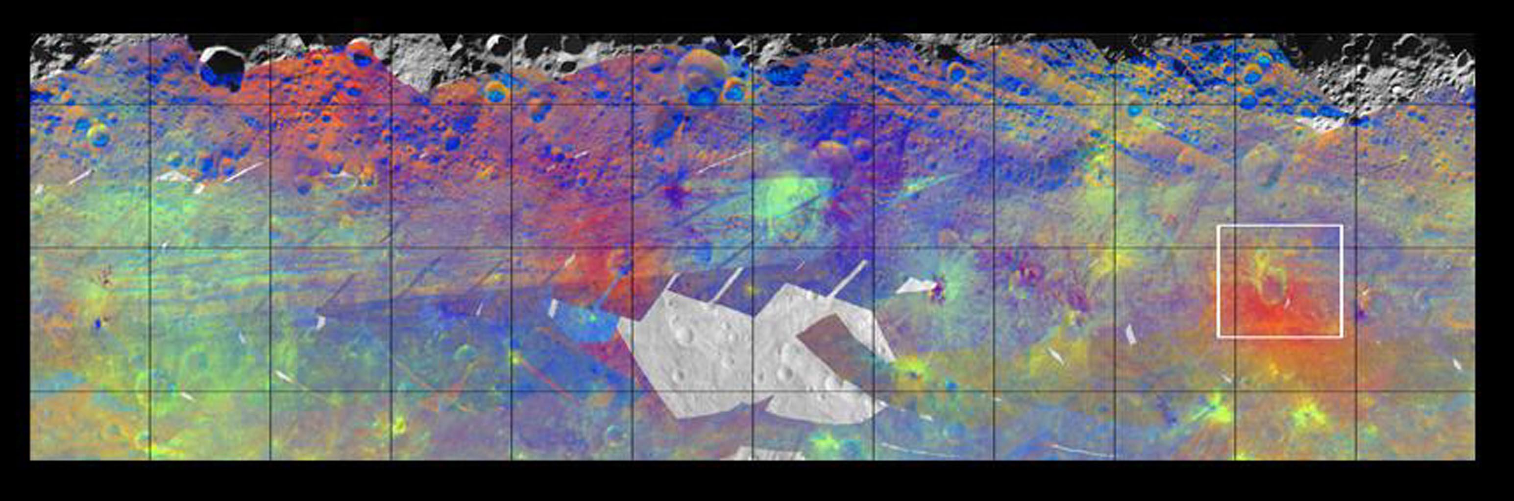 This image from NASA's Dawn mission shows the varied minerals on the surface of the giant asteroid Vesta in false color.