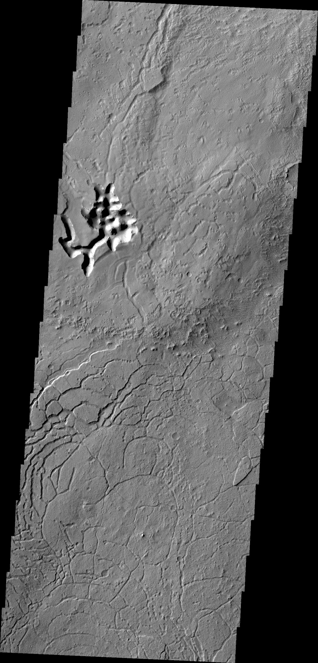 Arcuate fractures are a common feature in this region south of Avernus Colles. This image is from NASA's 2001 Mars Odyssey spacecraft.