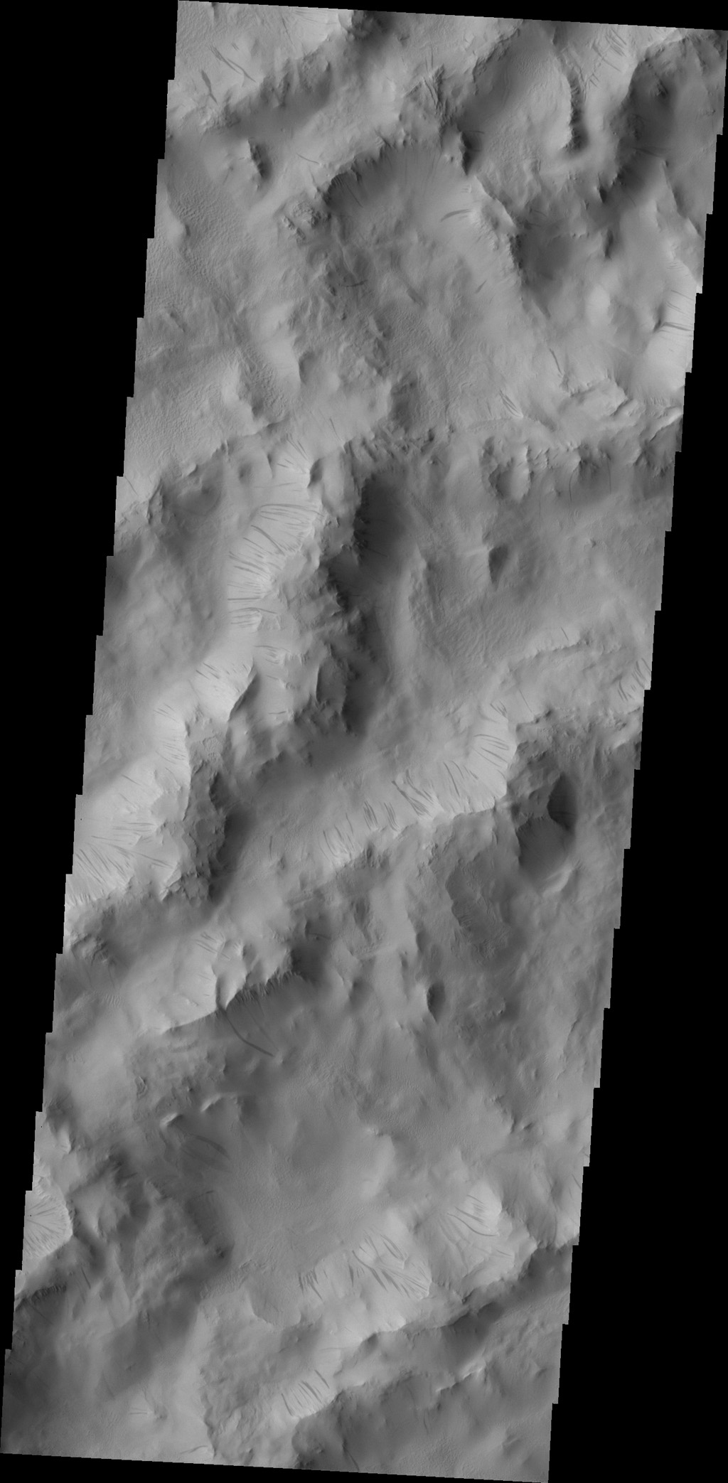 Dark slope streaks are common throughout the ridges that comprise Lycus Sulci in this image captured by NASA's 2001 Mars Odyssey spacecraft.